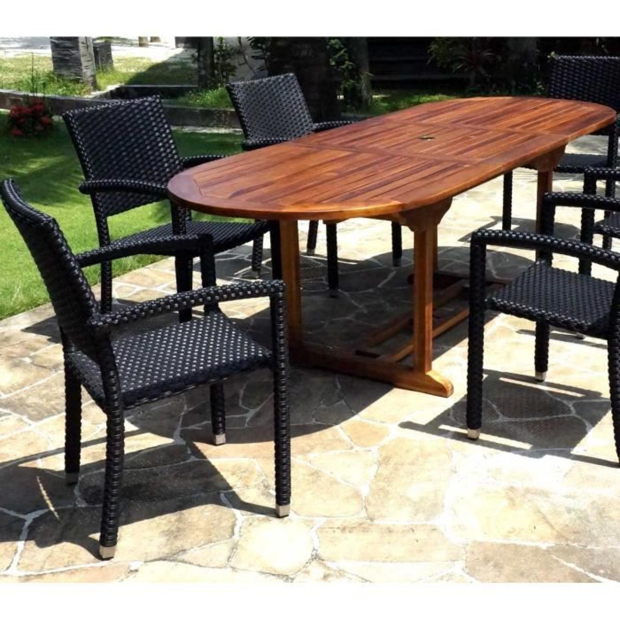 salon de jardin en teck huilé table 240 cm 6 fauteuils résine noire ...
