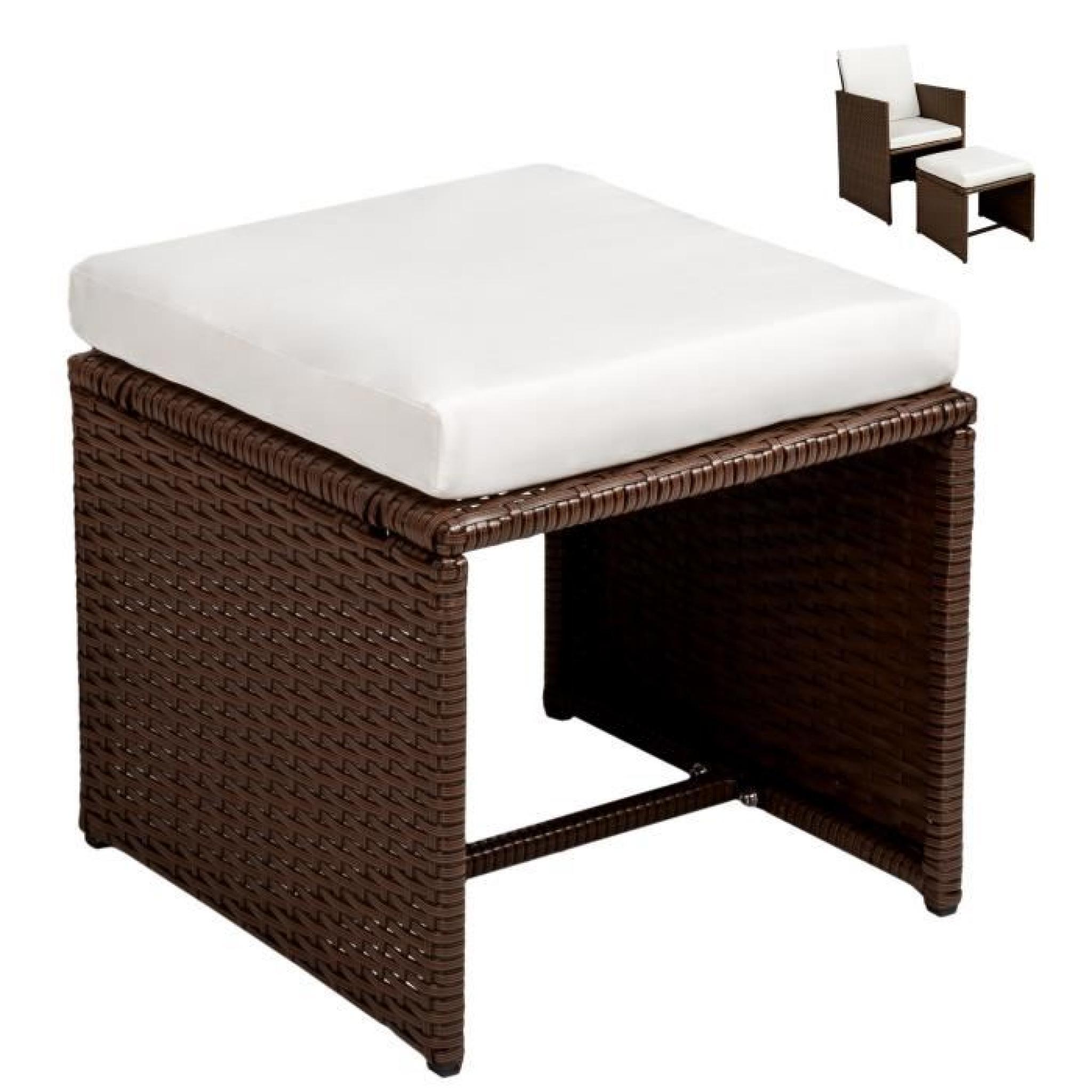 Salon de jardin ensemble avec 4 chaises 4 tables et 1 table en r sine tress e acier marron for Ensemble salon de jardin pas cher