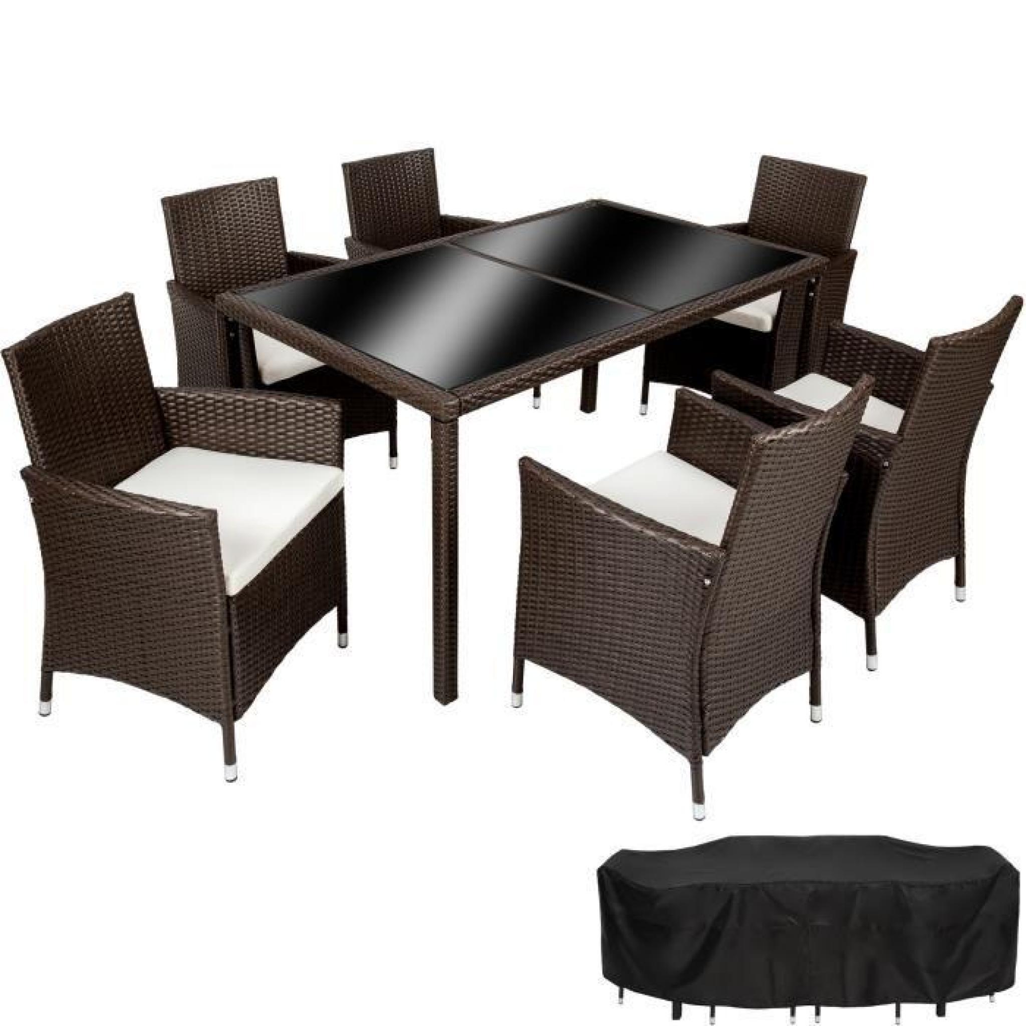 Salon de Jardin Lisbonne, Ensemble avec 6 Chaises Fauteuils, 1 Table et 1  Housse Résine tressée Acier Noir TECTAKE