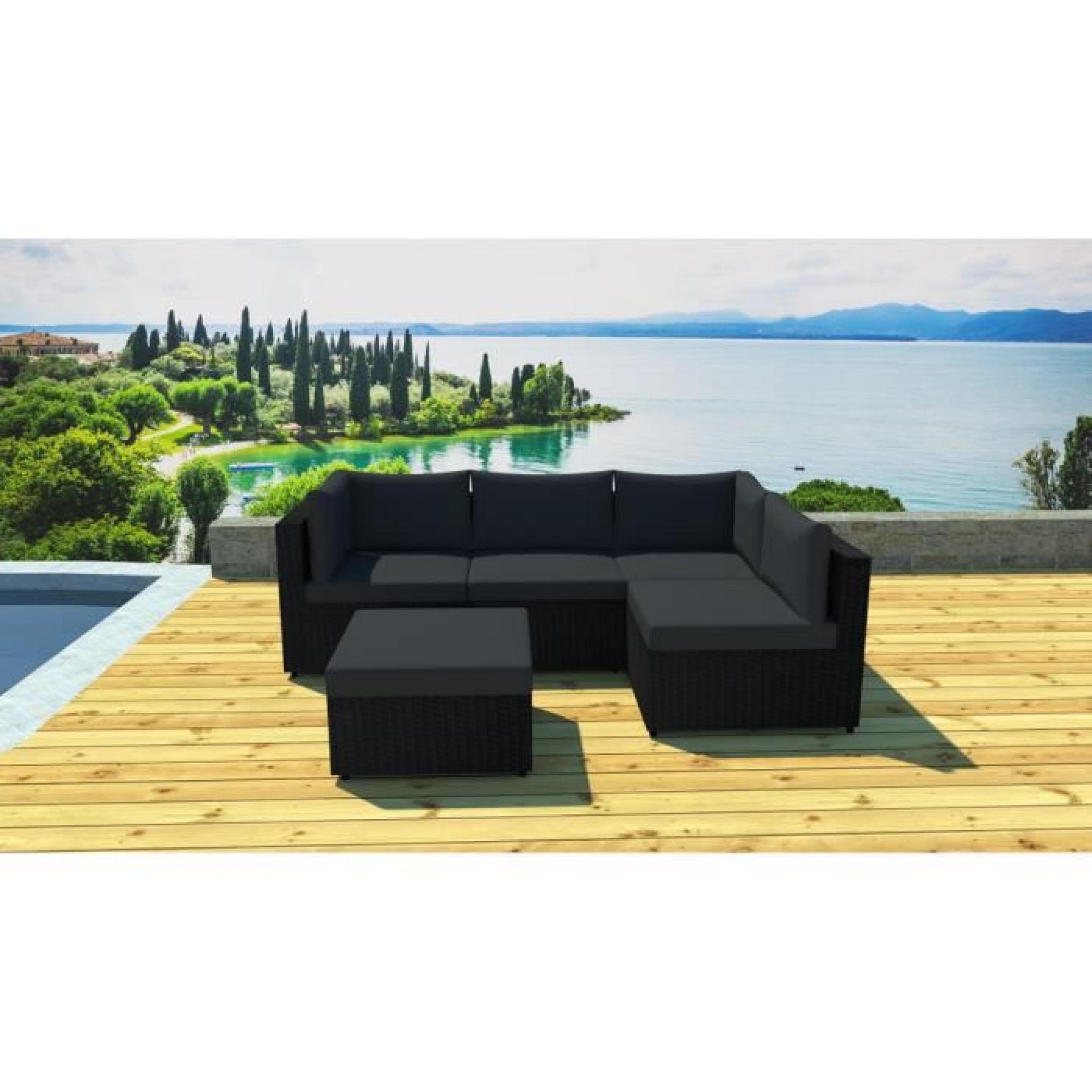 Salon de jardin modulable 5 places en résine Noir/noir - Achat/Vente ...