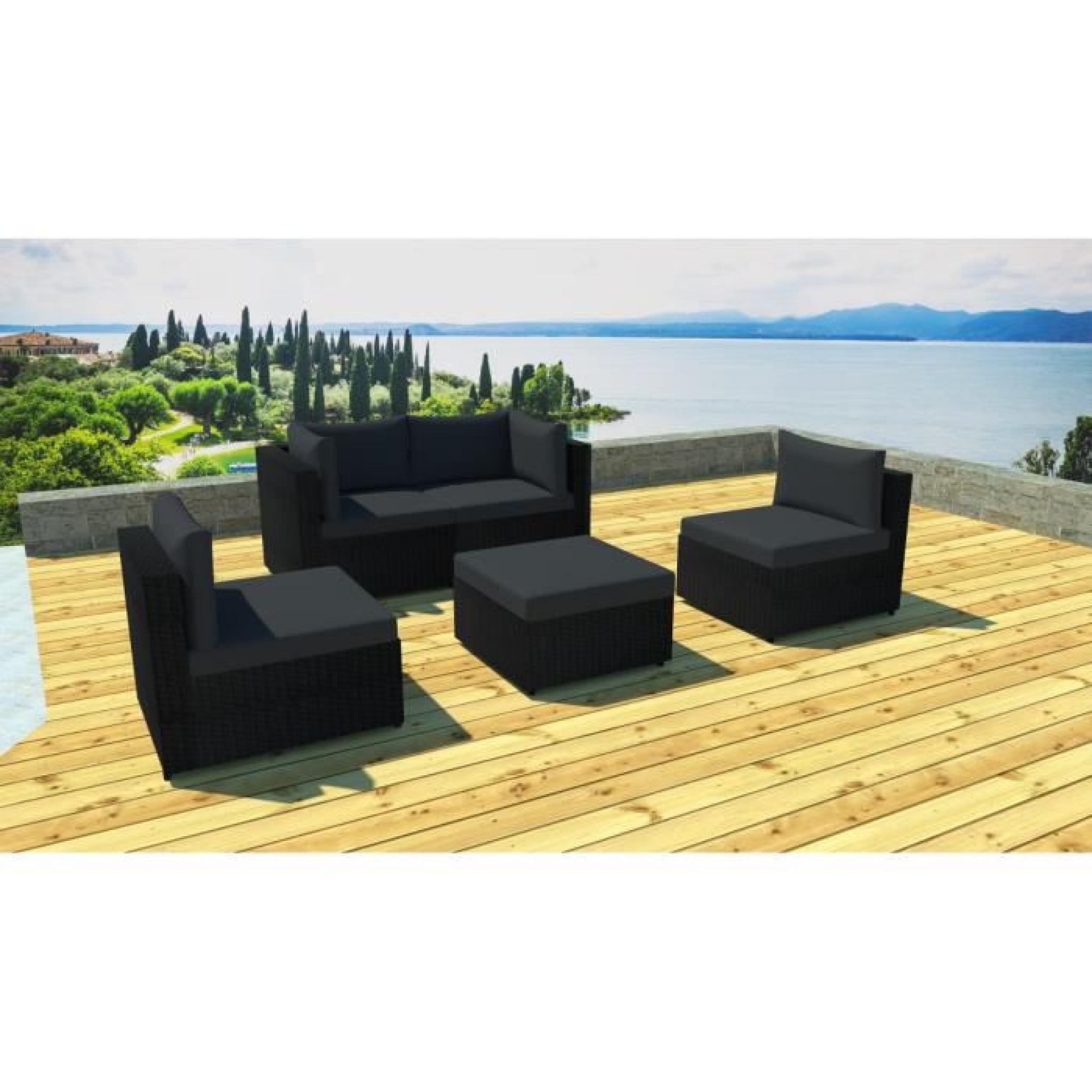 Salon de jardin modulable 5 places en résine Noir/noir