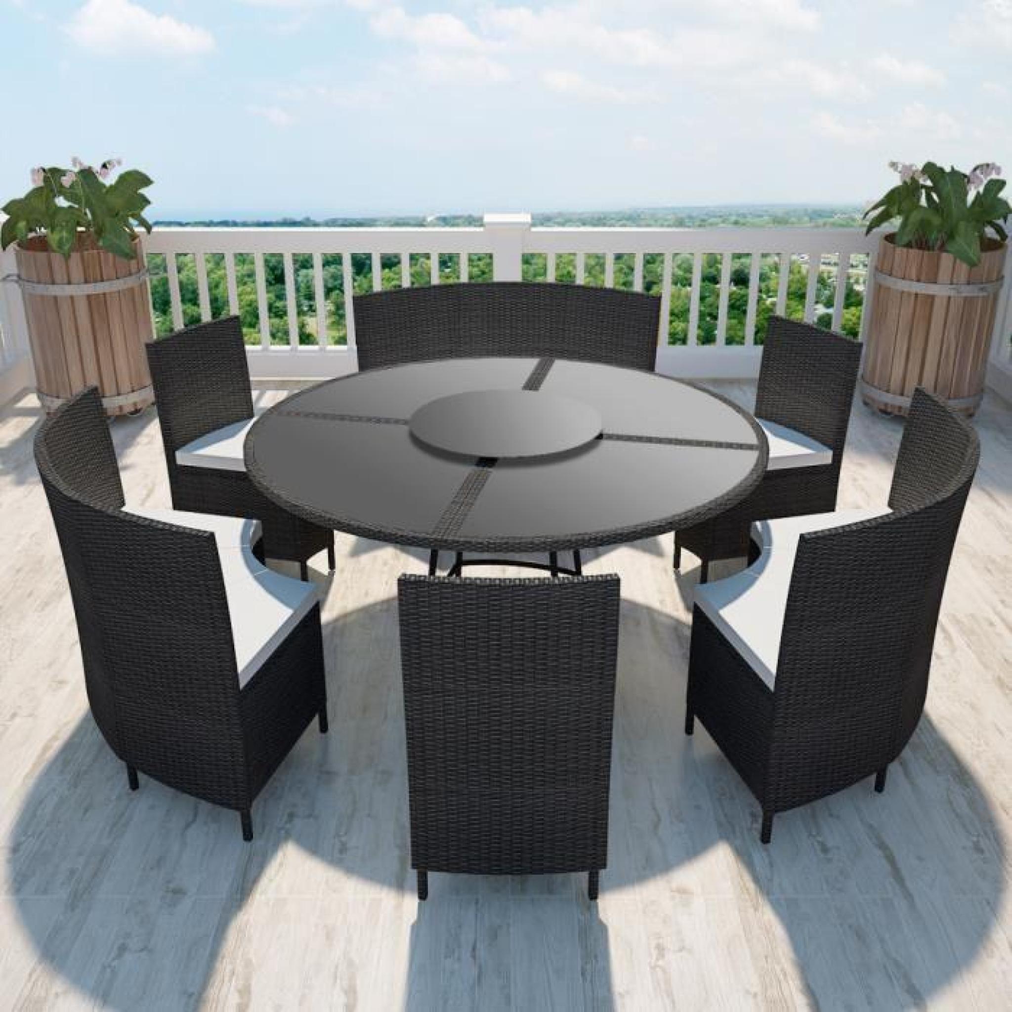 salon de jardin noir en polyrotin table ronde et chaises 12 pers achat vente ensemble de. Black Bedroom Furniture Sets. Home Design Ideas