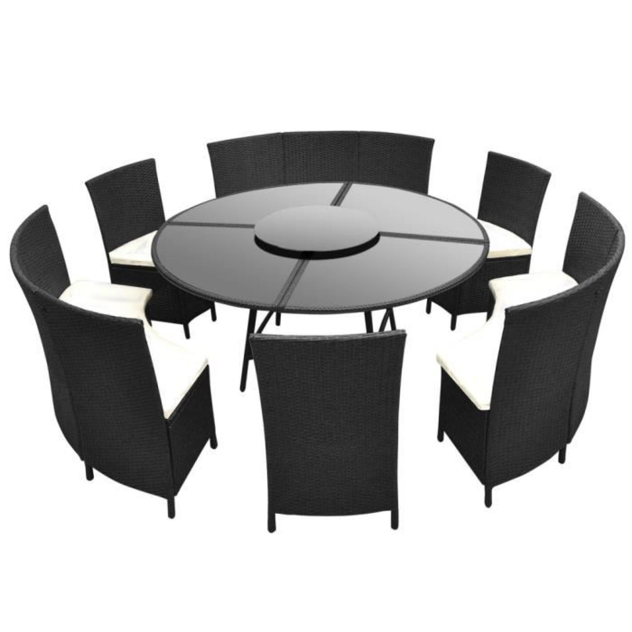 Salon de jardin noir en polyrotin table ronde et chaises 12 pers ...