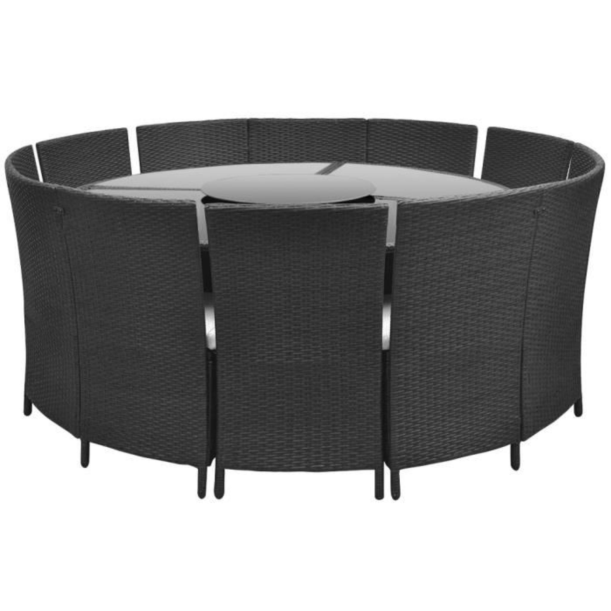 Salon de jardin noir en polyrotin table ronde et chaises 12 pers.