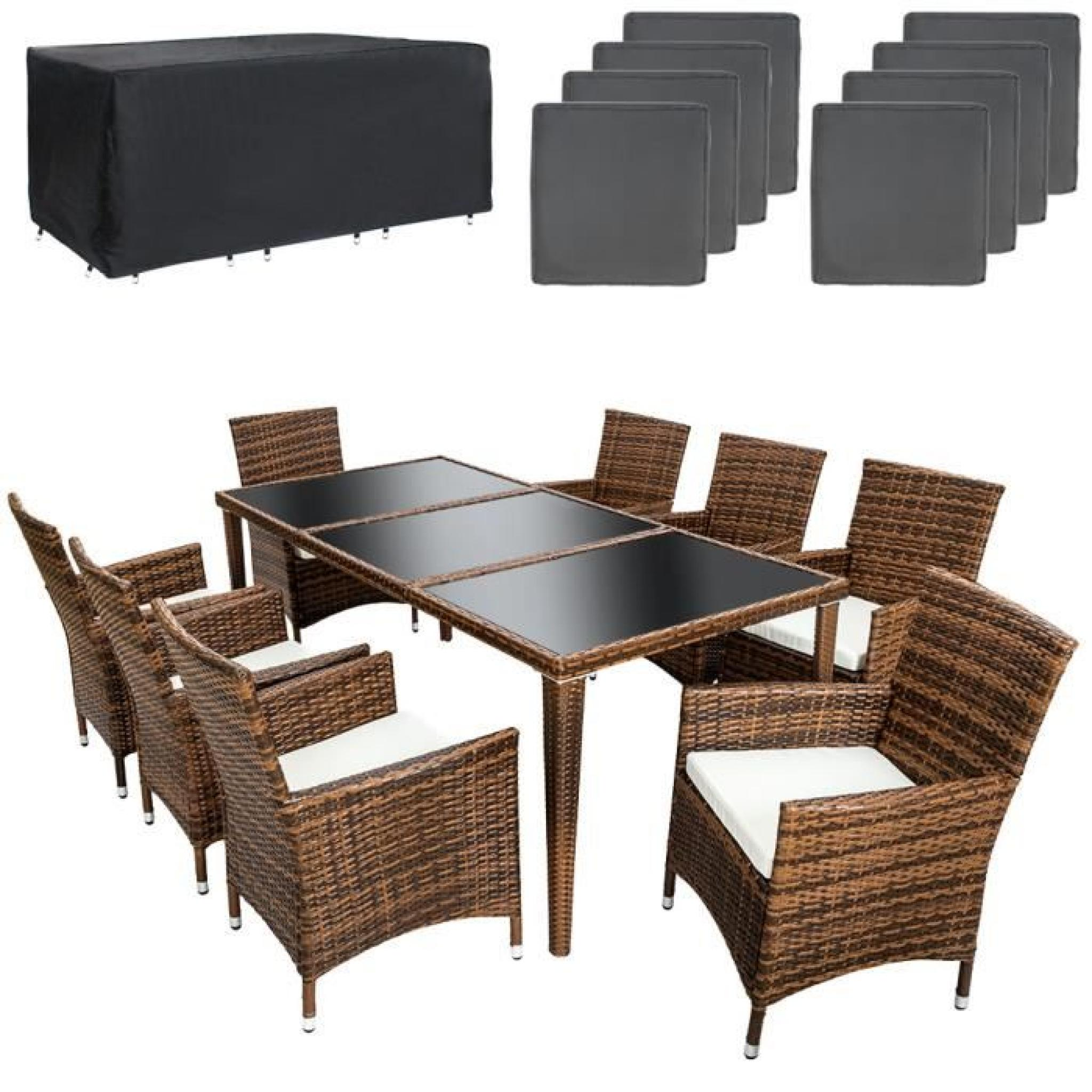 salon de jardin aluminium poly rotin 8 chaises fauteuils et 1 table 2 sets de housses inclus. Black Bedroom Furniture Sets. Home Design Ideas