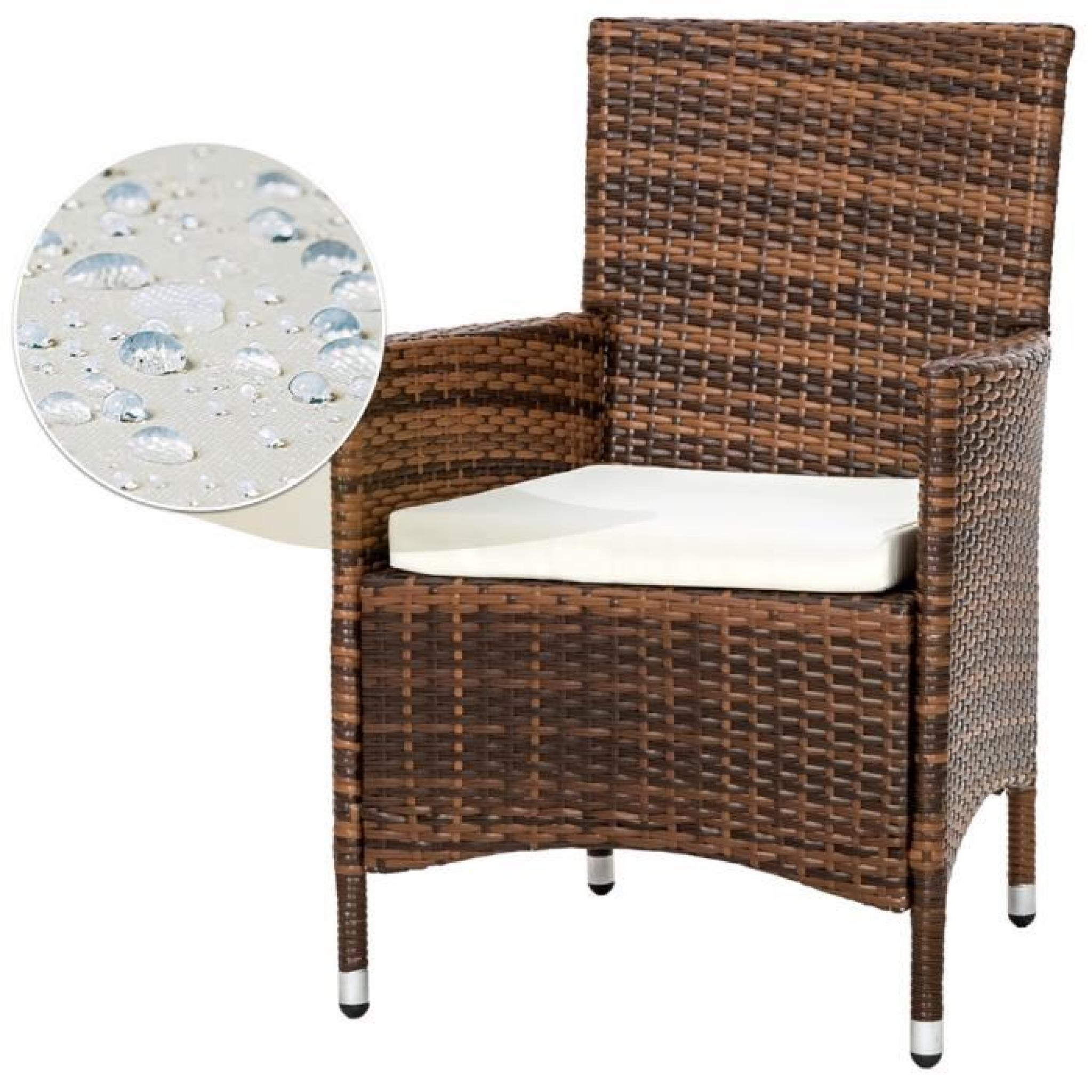 Salon de Jardin Aluminium POLY ROTIN - 8 Chaises Fauteuils et 1 Table + 2  Sets de Housses Inclus + 1 Habillage Pluie Marron TECTAKE