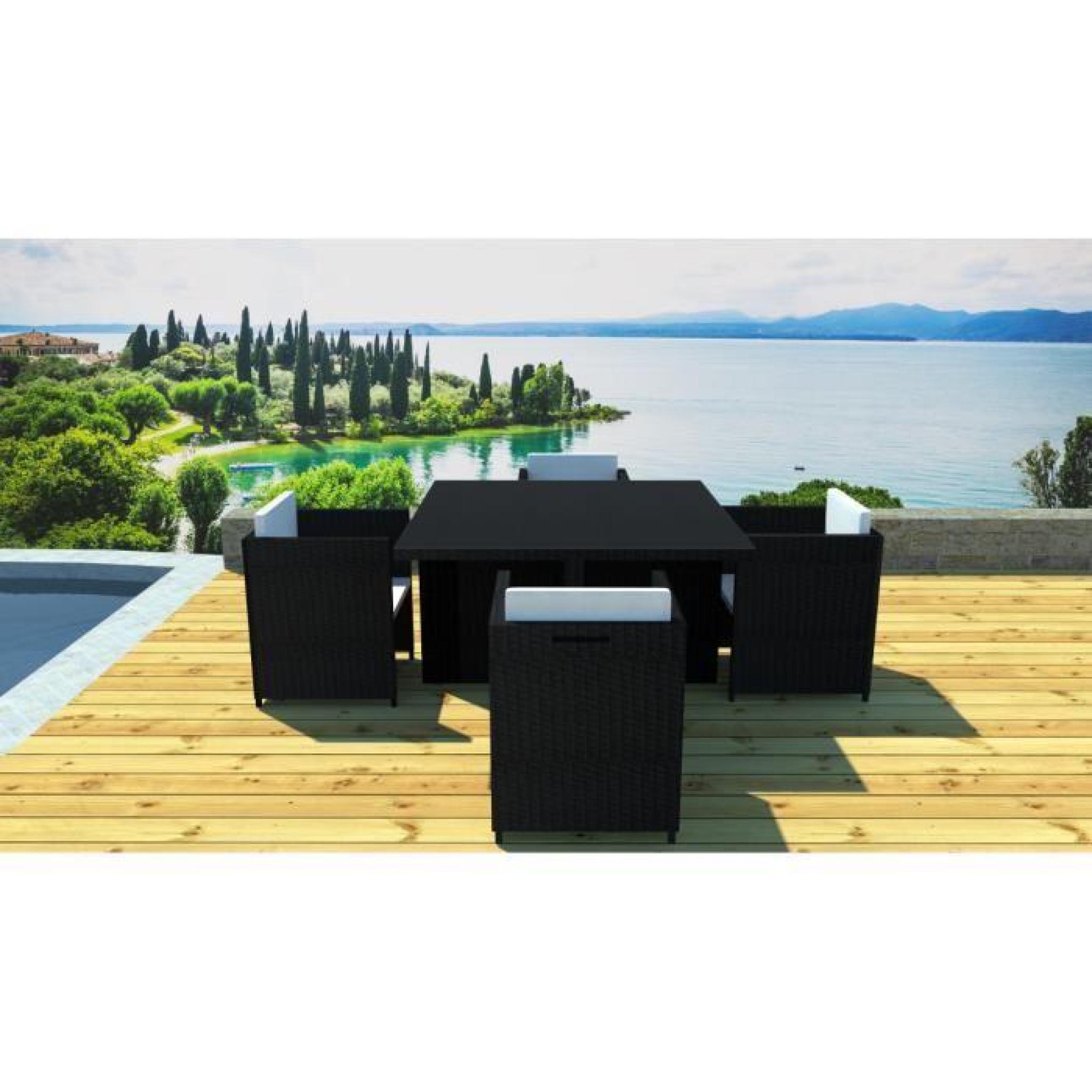salon de jardin r sine encastrable 4 places achat vente salon de jardin en resine tressee pas. Black Bedroom Furniture Sets. Home Design Ideas