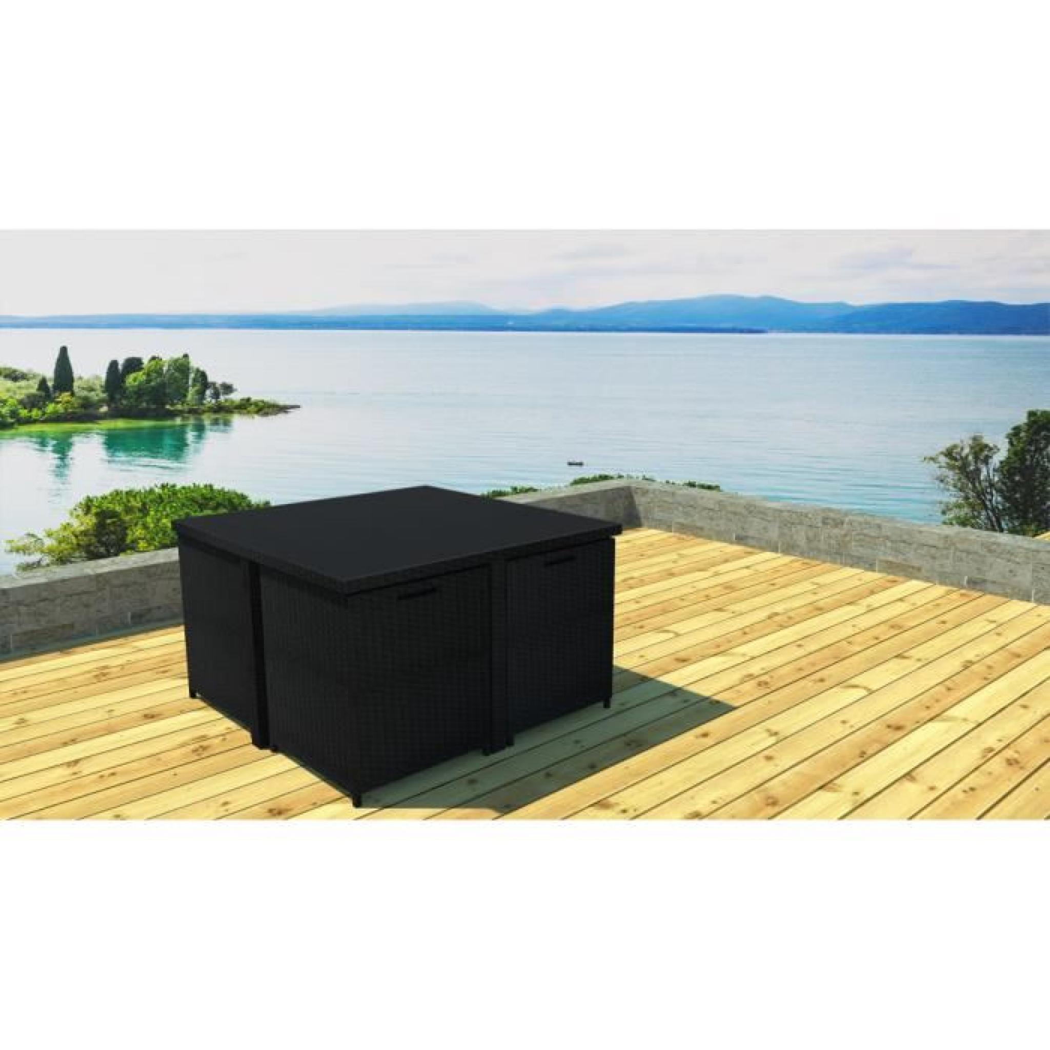 salon de jardin r sine encastrable 4 places achat vente salon de jardin en resine tressee pas. Black Bedroom Furniture Sets. Home Design Ideas