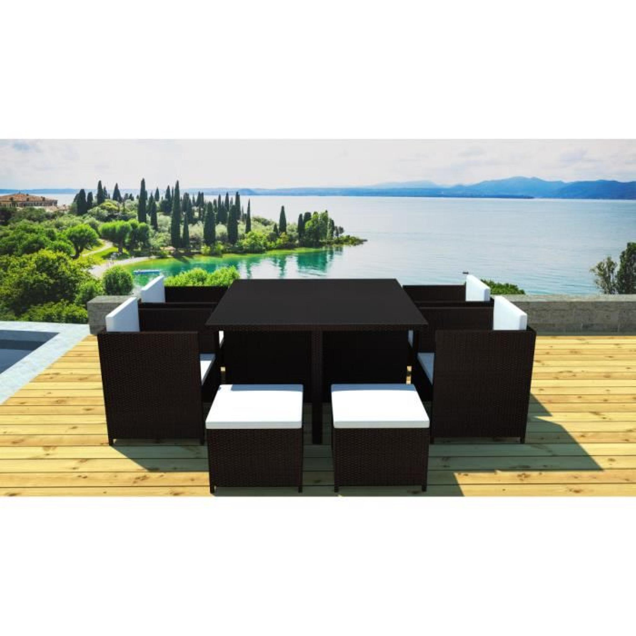 salon de jardin r sine encastrable 8 places chocolat cru. Black Bedroom Furniture Sets. Home Design Ideas