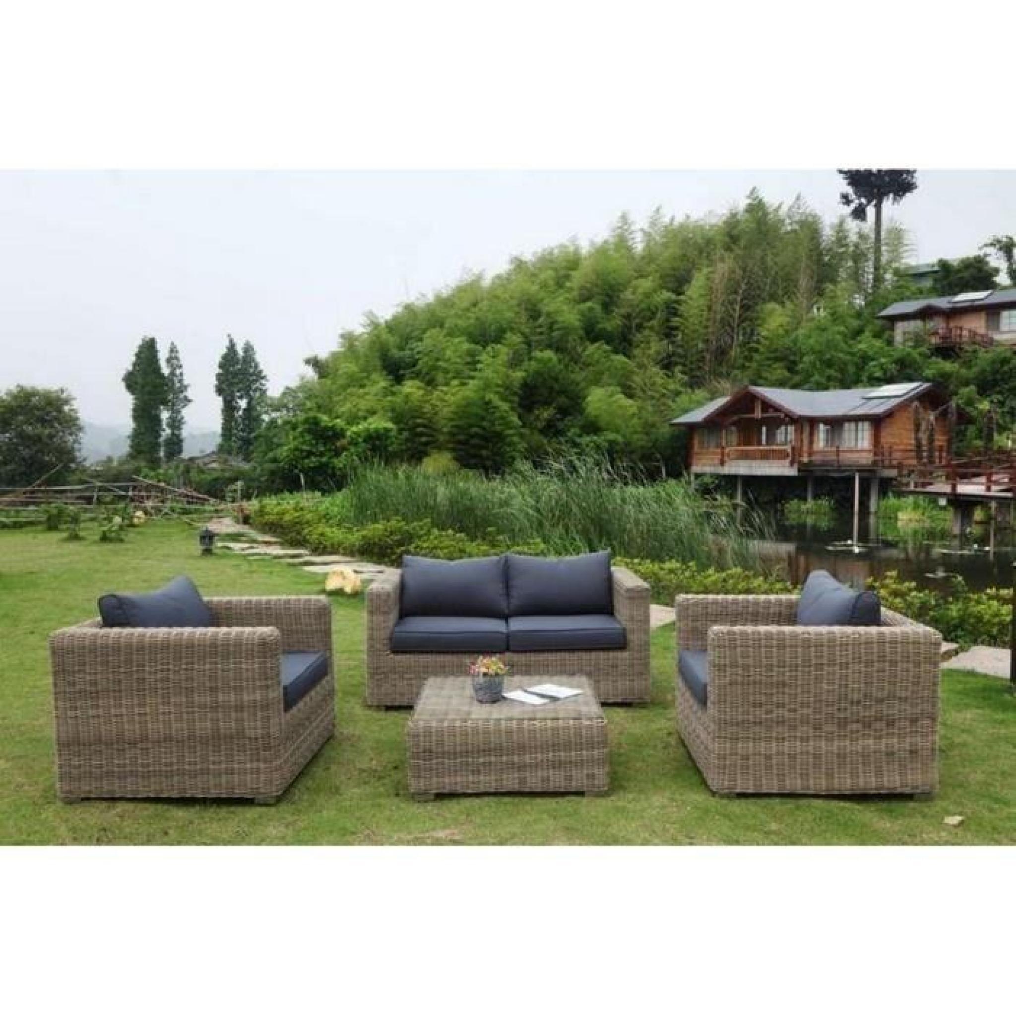 salon de jardin r sine tress e ronde ensemble 4 places aurea osier achat vente salon de jardin. Black Bedroom Furniture Sets. Home Design Ideas