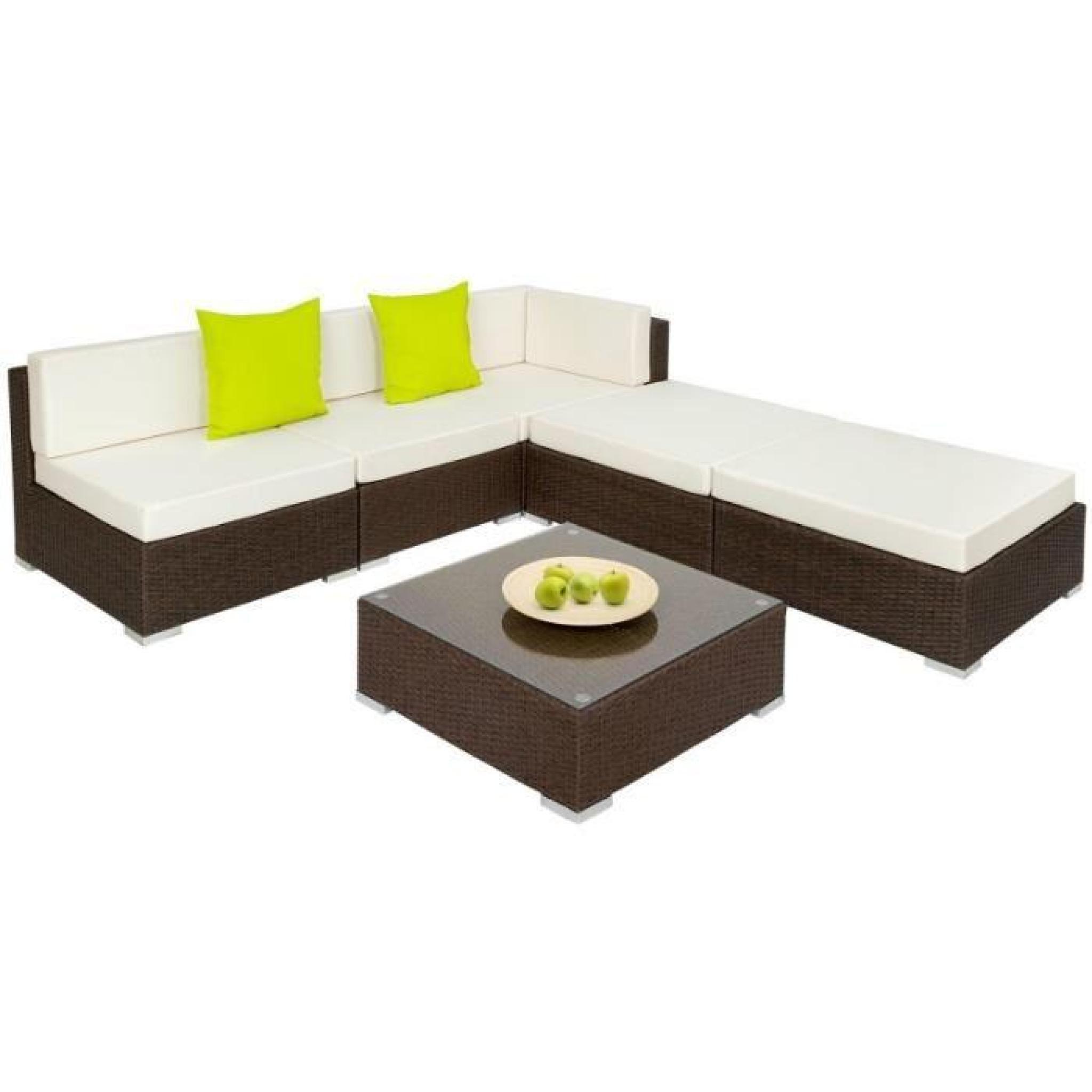 Salon de jardin rotin résine tressé synthétique marron 6 pièces 2108032