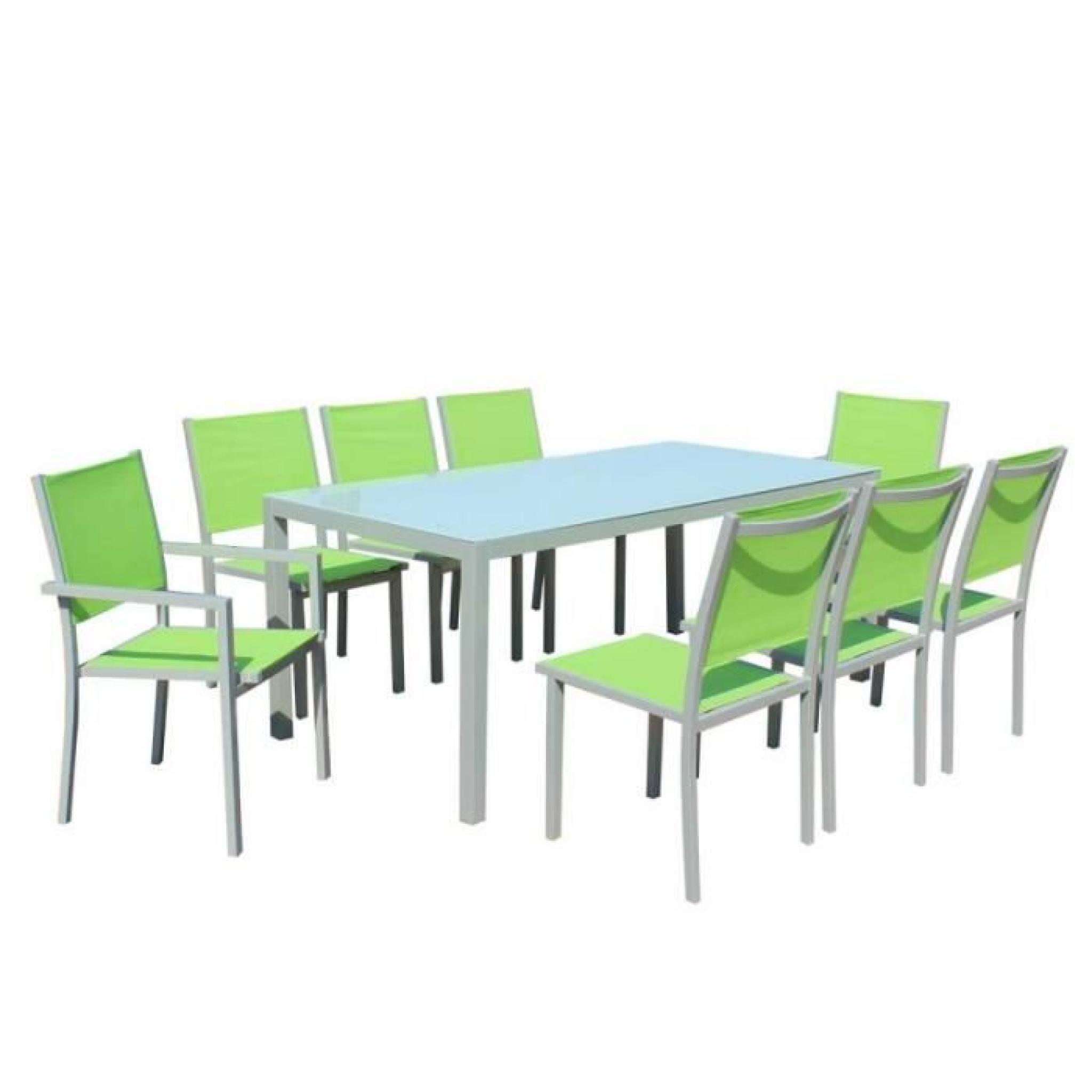Table et chaises de jardin - 8 fauteuils pliants - Aluminium et verre