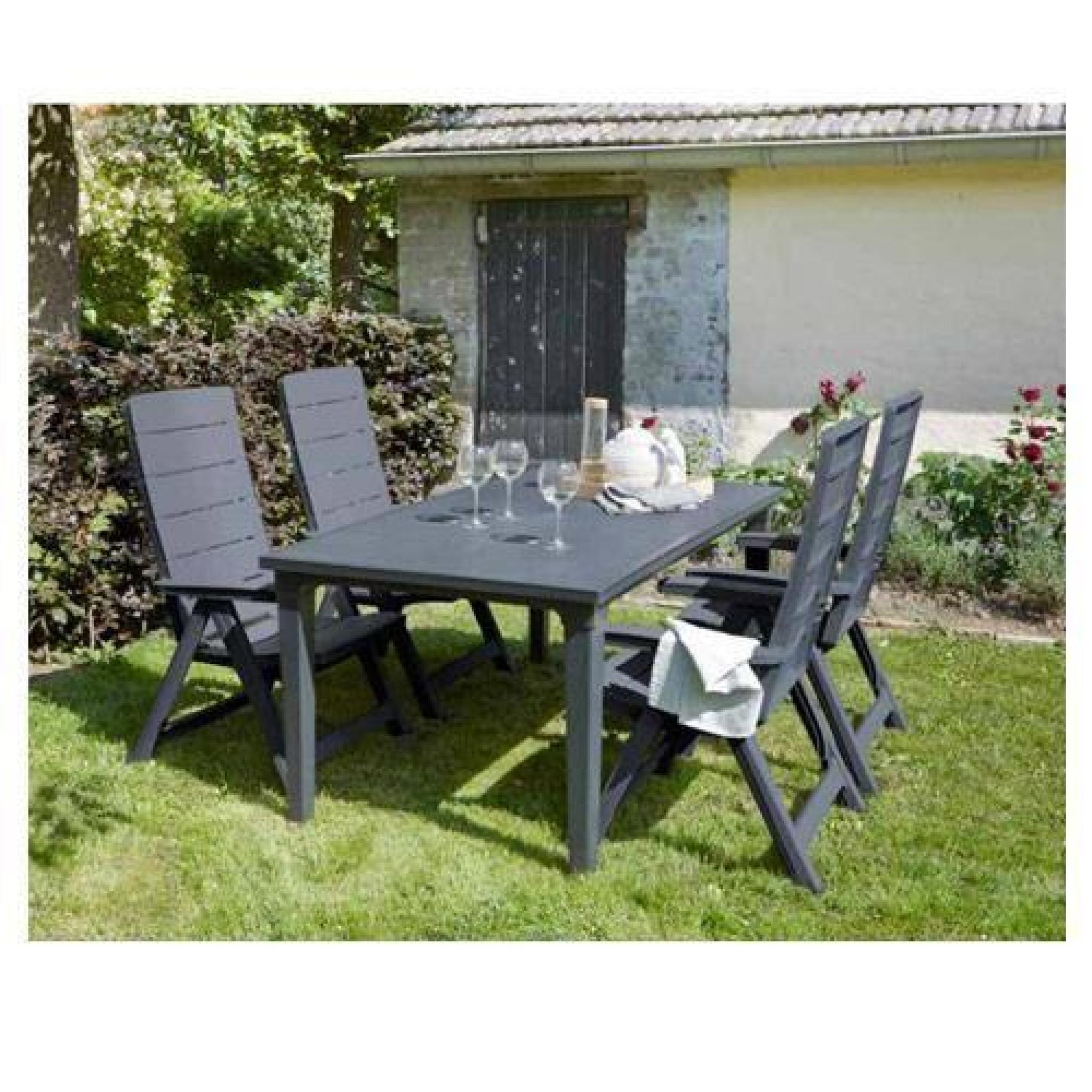 Salon de jardin: table graphite + 4 fauteuils graphite