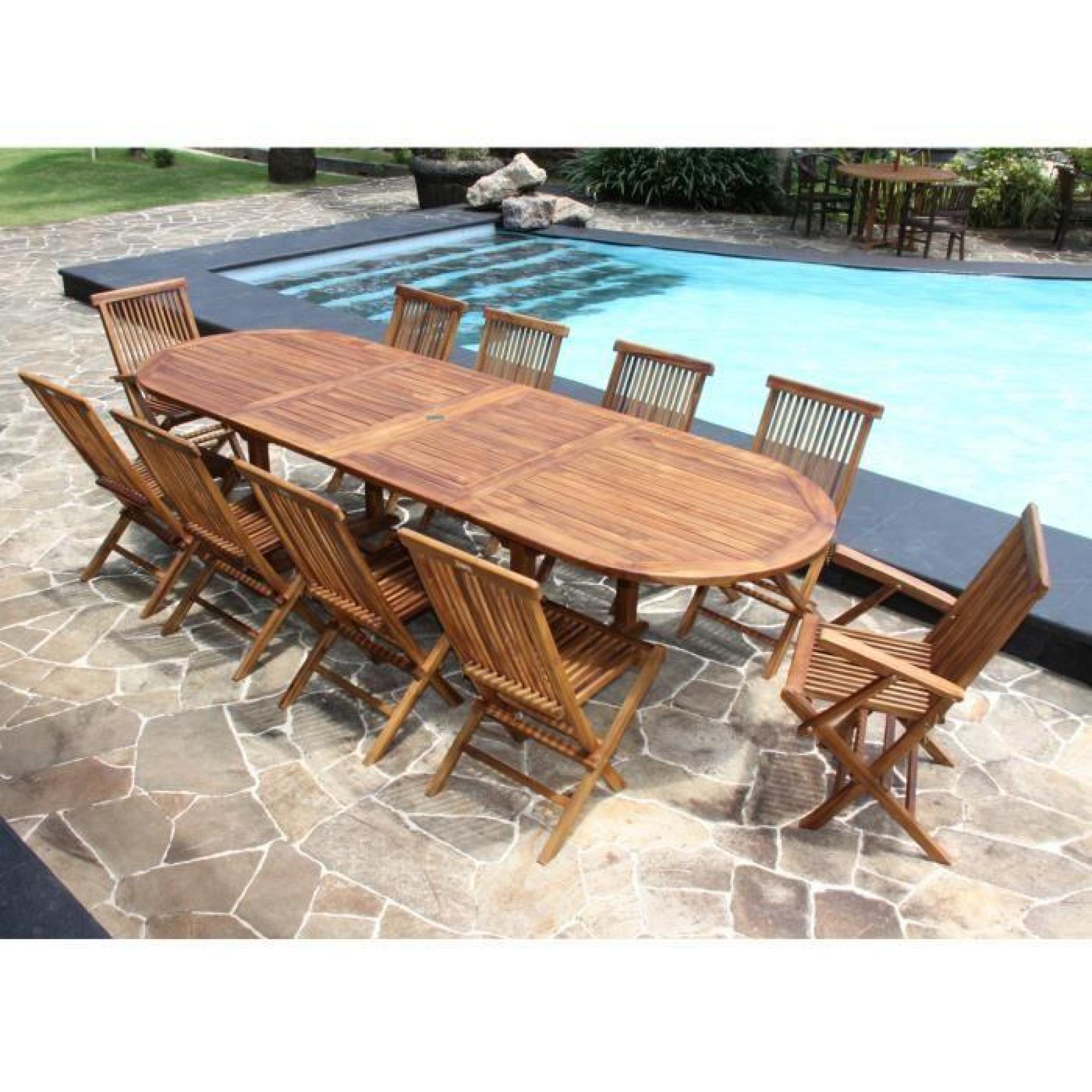 salon de jardin teck huil 10 12 pers table larg 100cm 8 chaises 2 fauteuils achat vente salon. Black Bedroom Furniture Sets. Home Design Ideas