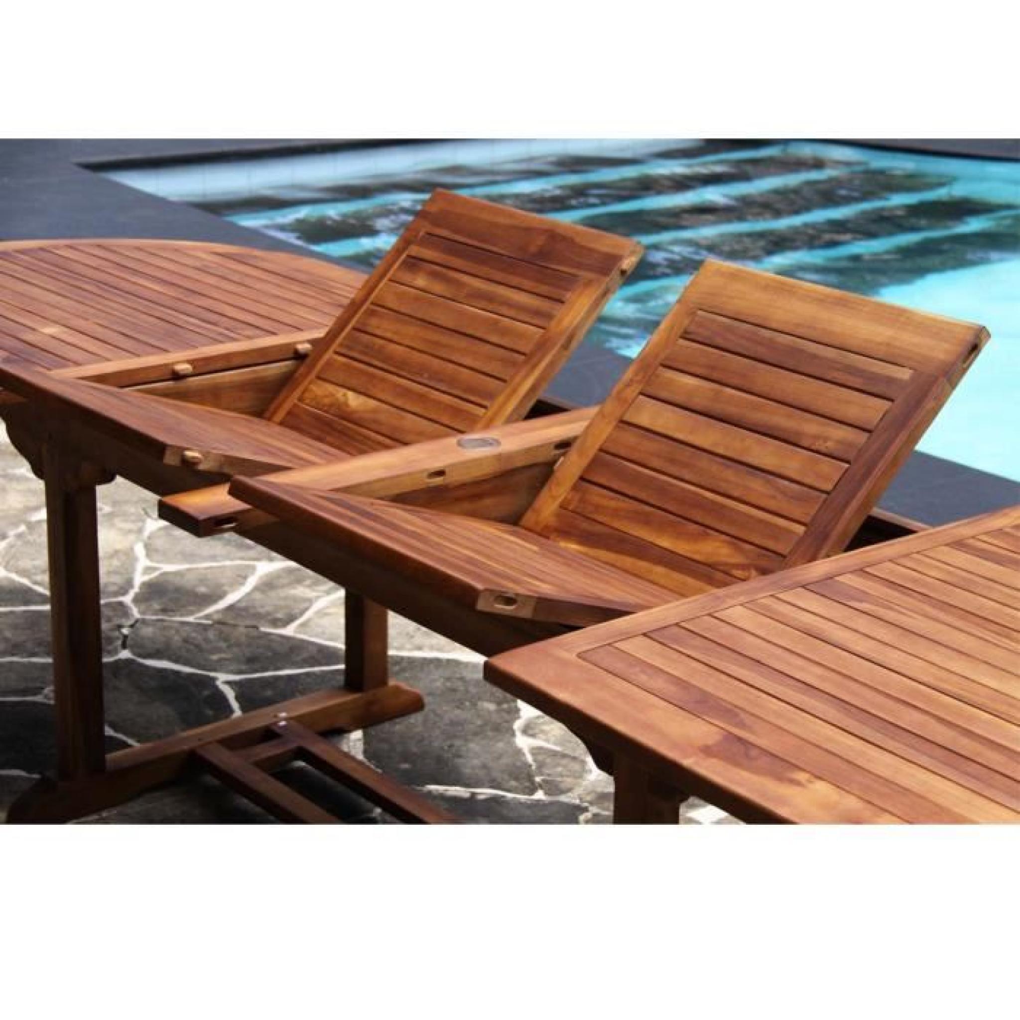 Salon de jardin teck huil 10 12 pers table larg 100cm 8 chaises 2 fauteuils achat vente salon - Salon jardin en teck pas cher ...