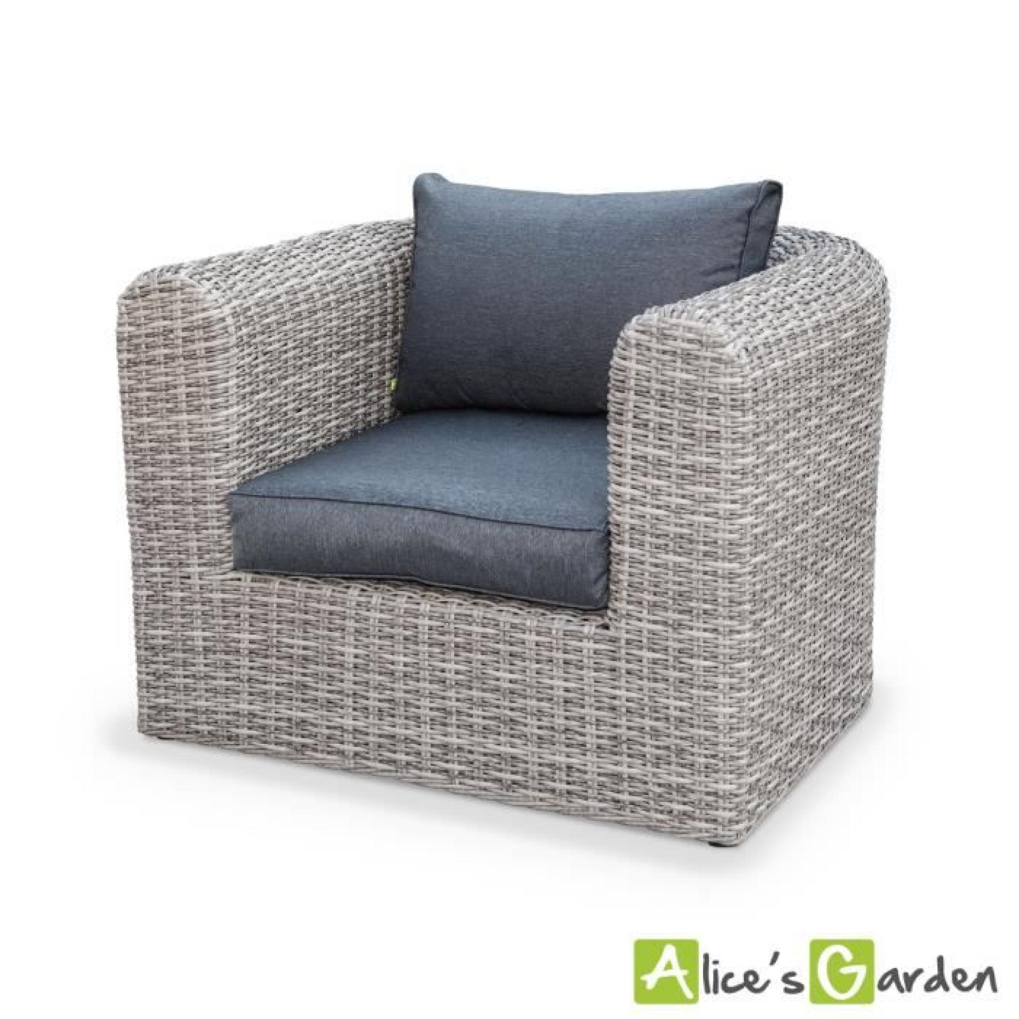 Salon de jardin Tonico en résine tressée arrondie 3 tailles, 6 places  canapé fauteuil