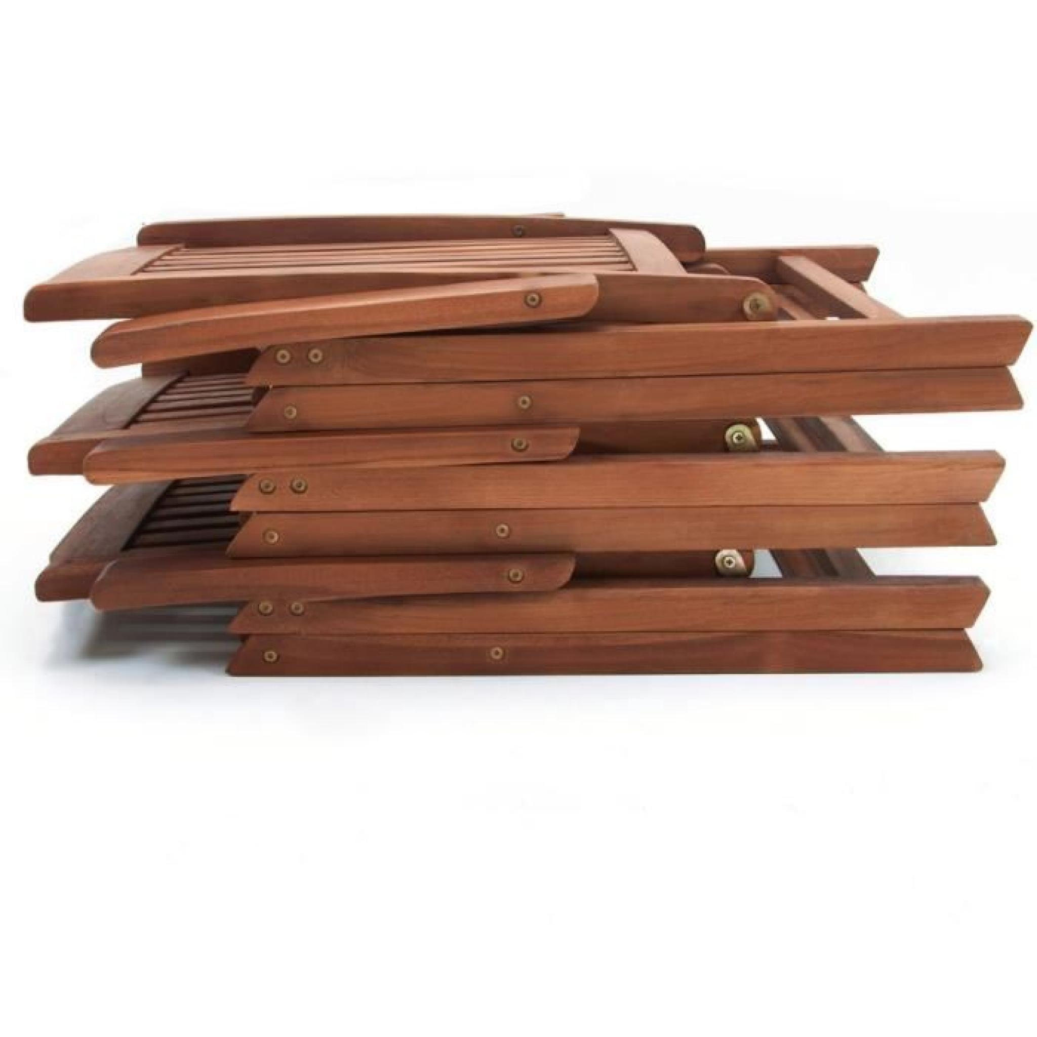 Salon de jardin vanamo ensemble 7 pi ces table et chaises en bois dur achat vente salon de for Ensemble table et chaise de jardin en bois pas cher