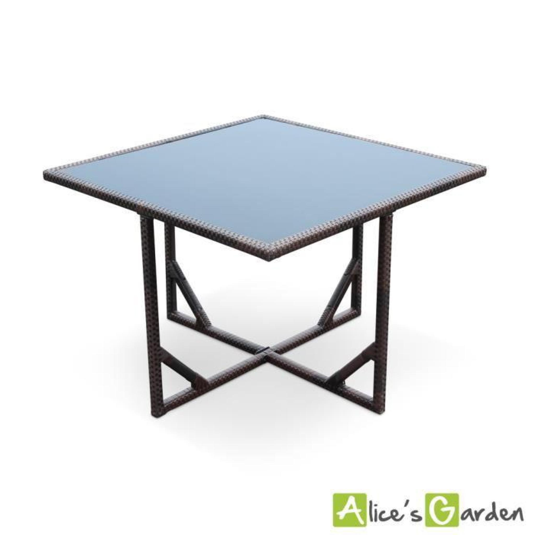 Salon de jardin Vasto Chocolat table en résine tressée 8 à 12 places,  fauteuils encastrables.