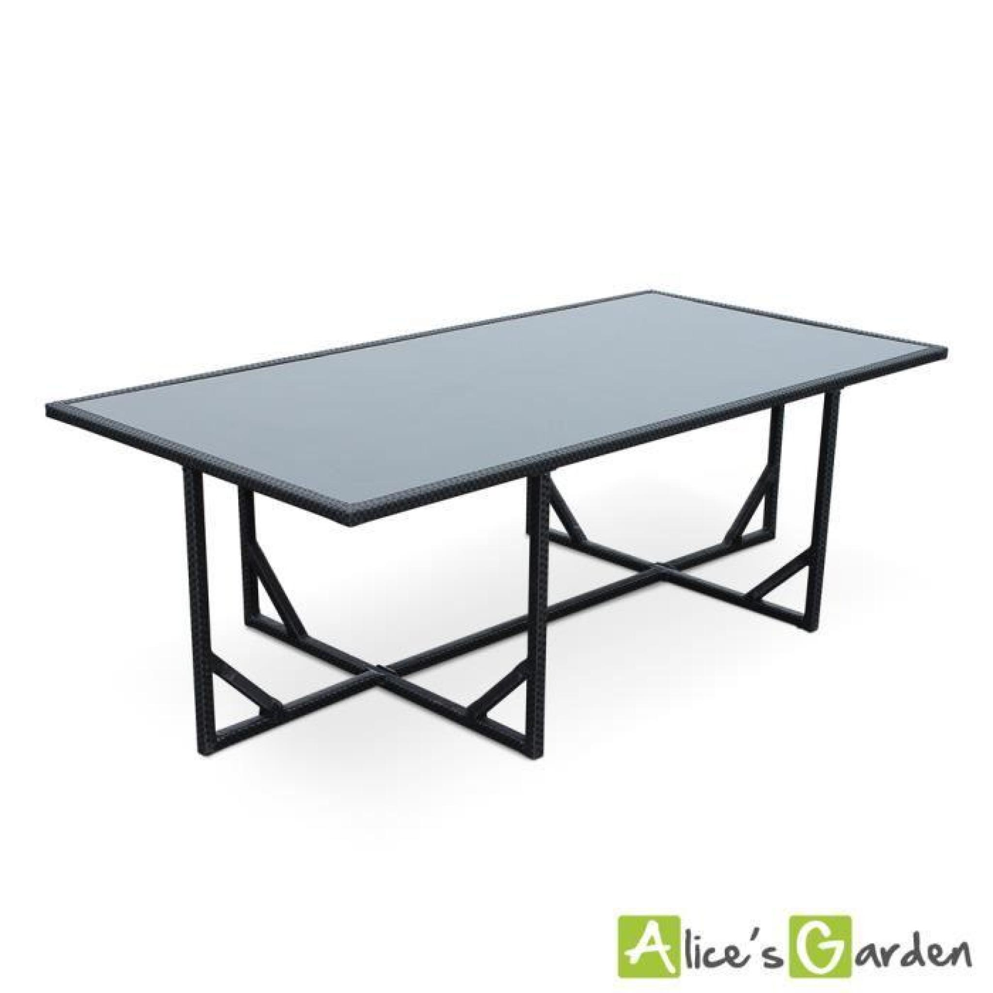 Salon de jardin vasto noir table en r sine tress e 8 12 places fauteuils e - Table resine tressee ...