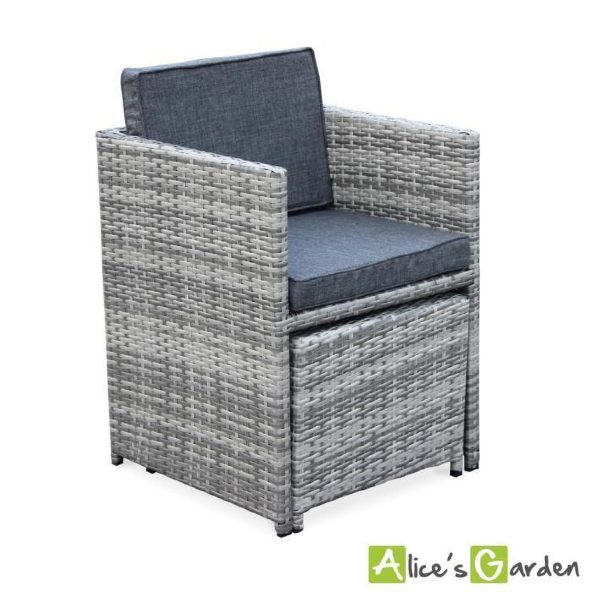 Salon de jardin Vasto nuances de Gris table en résine tressée 8 à 12  places, fauteuils encastrables
