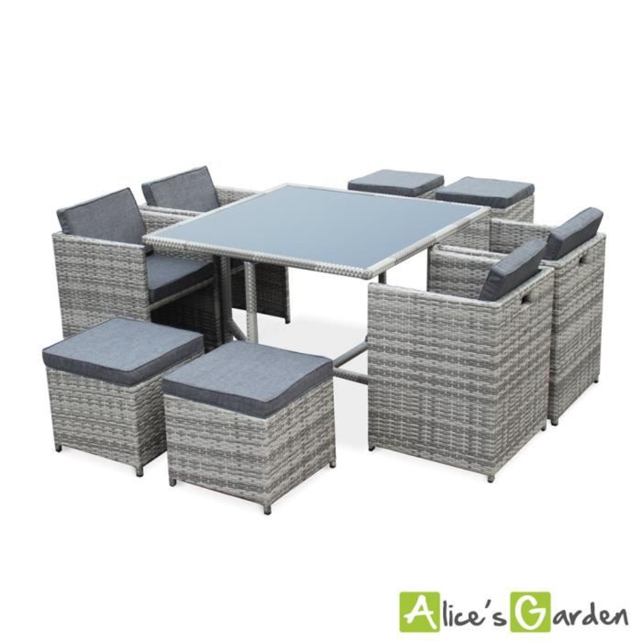 salon de jardin vasto nuances de gris table en r sine tress e 8 12 places fauteuils. Black Bedroom Furniture Sets. Home Design Ideas