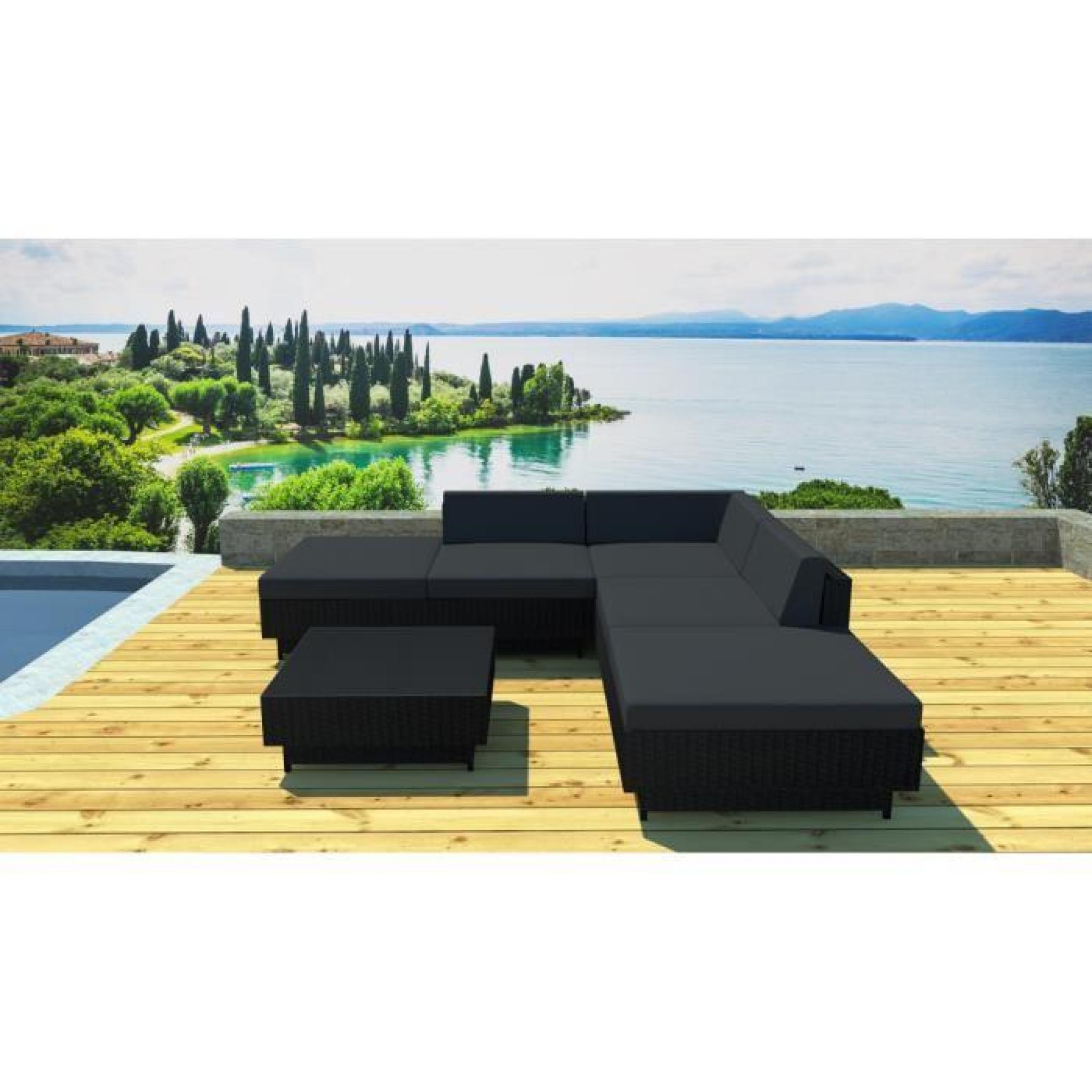 Salon jardin en résine tressée 6 éléments Noir/noir