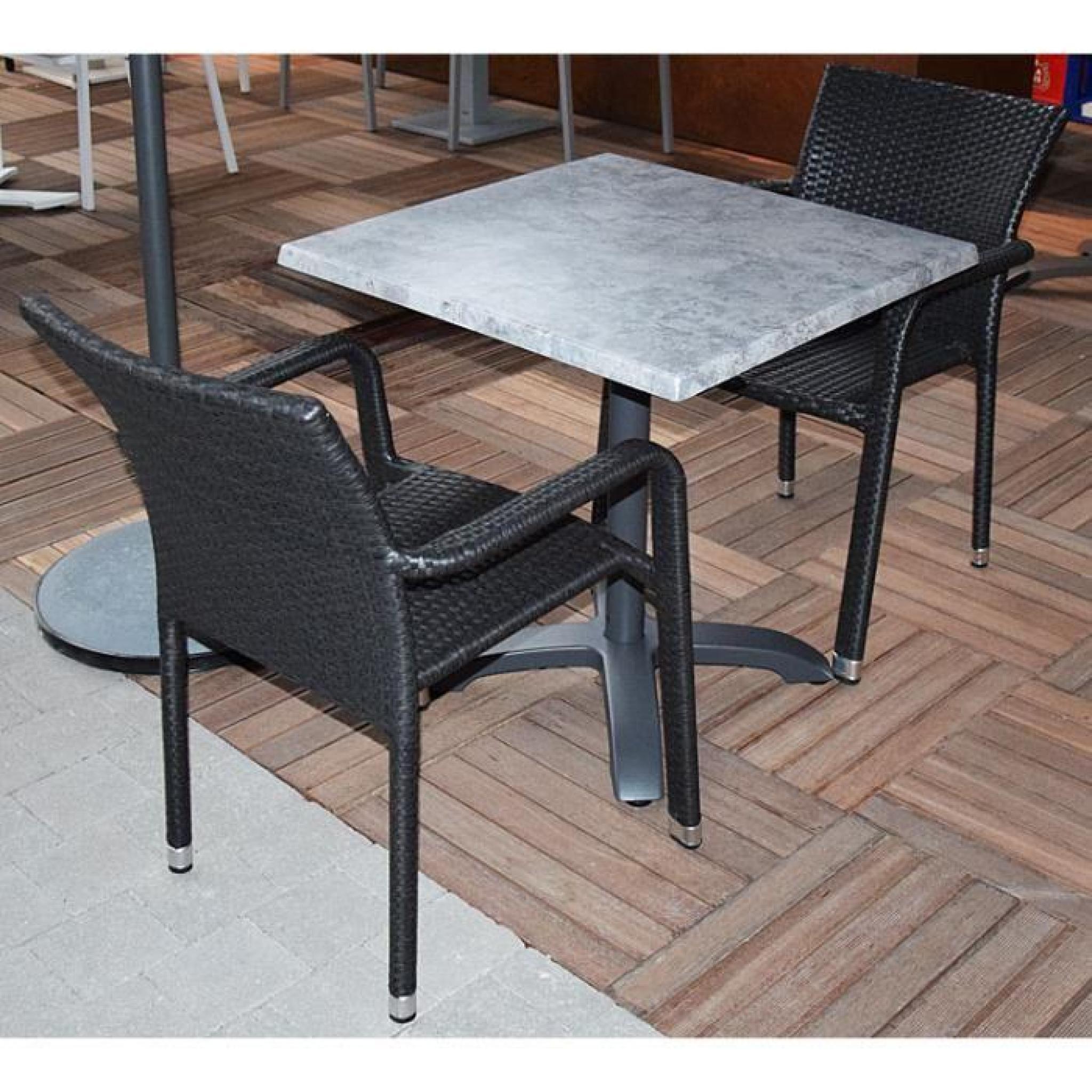 Salon oglio b ton table pliante alu 2 chaises r sine tress e gris achat vente salon de - Salon gris beton ...