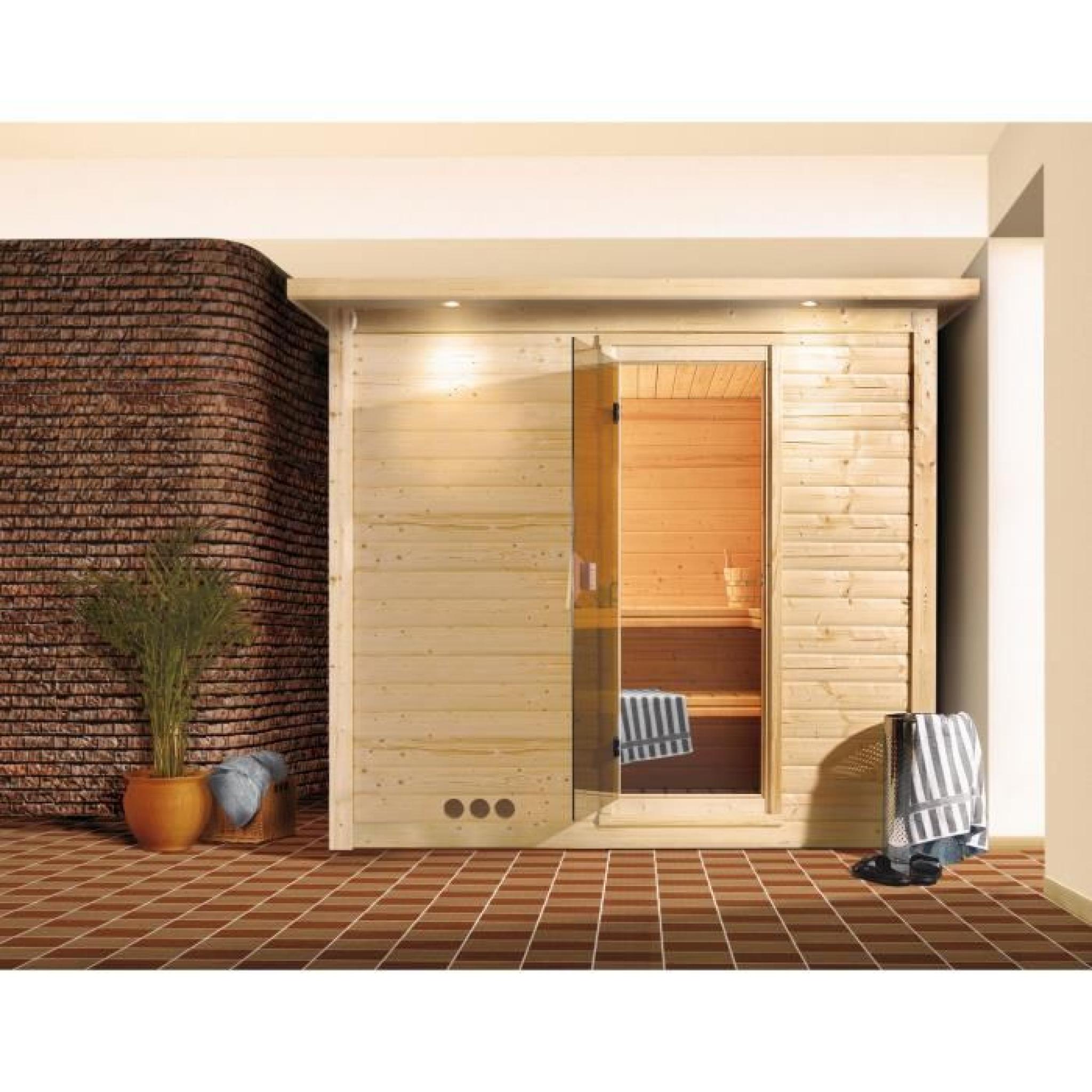 sauna bois 40mm d 39 int rieur mojave karibu 2 3 places couronne de toit avec po le bi o 9kw avec. Black Bedroom Furniture Sets. Home Design Ideas