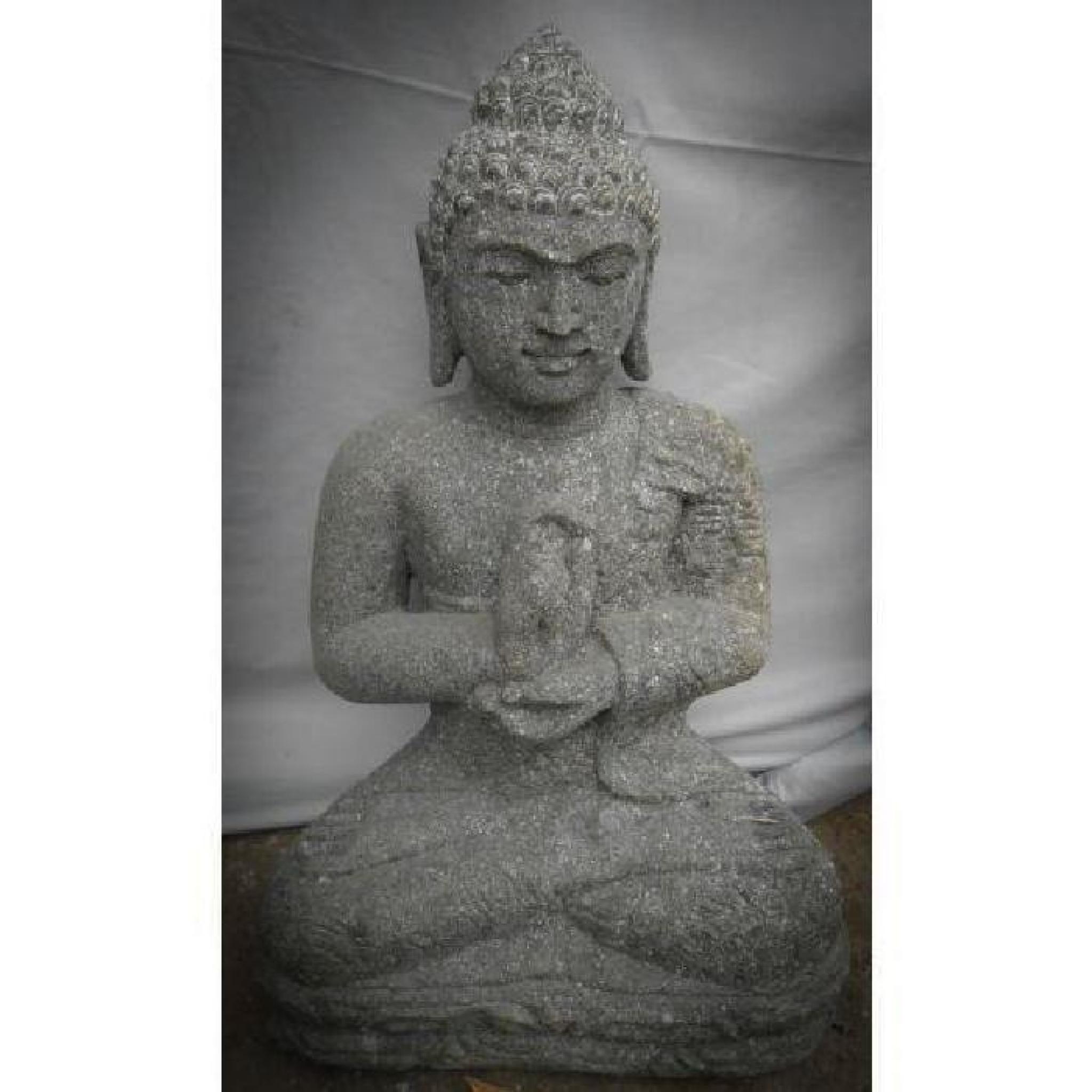 sculpture en pierre volcanique de bouddha position chakra jardin 50