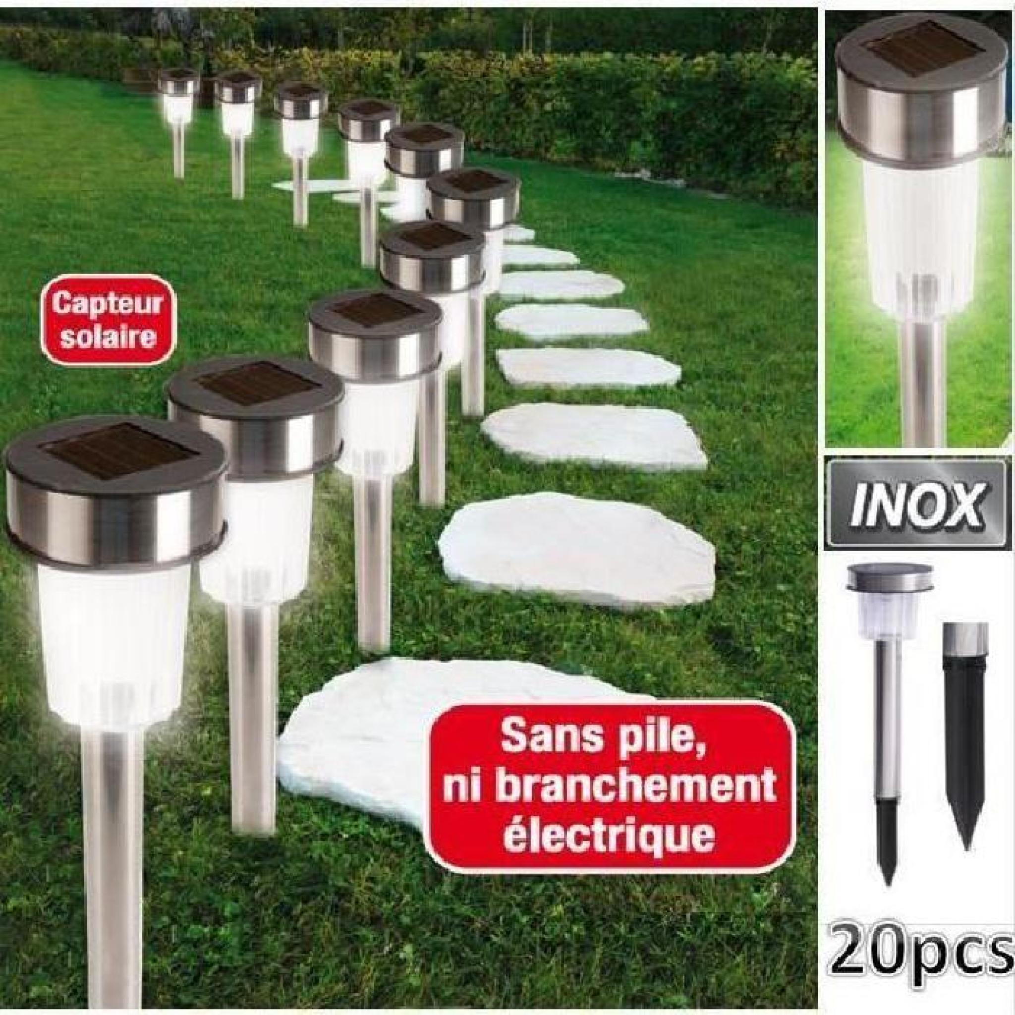 Set de 20 bornes lampes solaires inox à Led bla… - Achat/Vente lampe ...