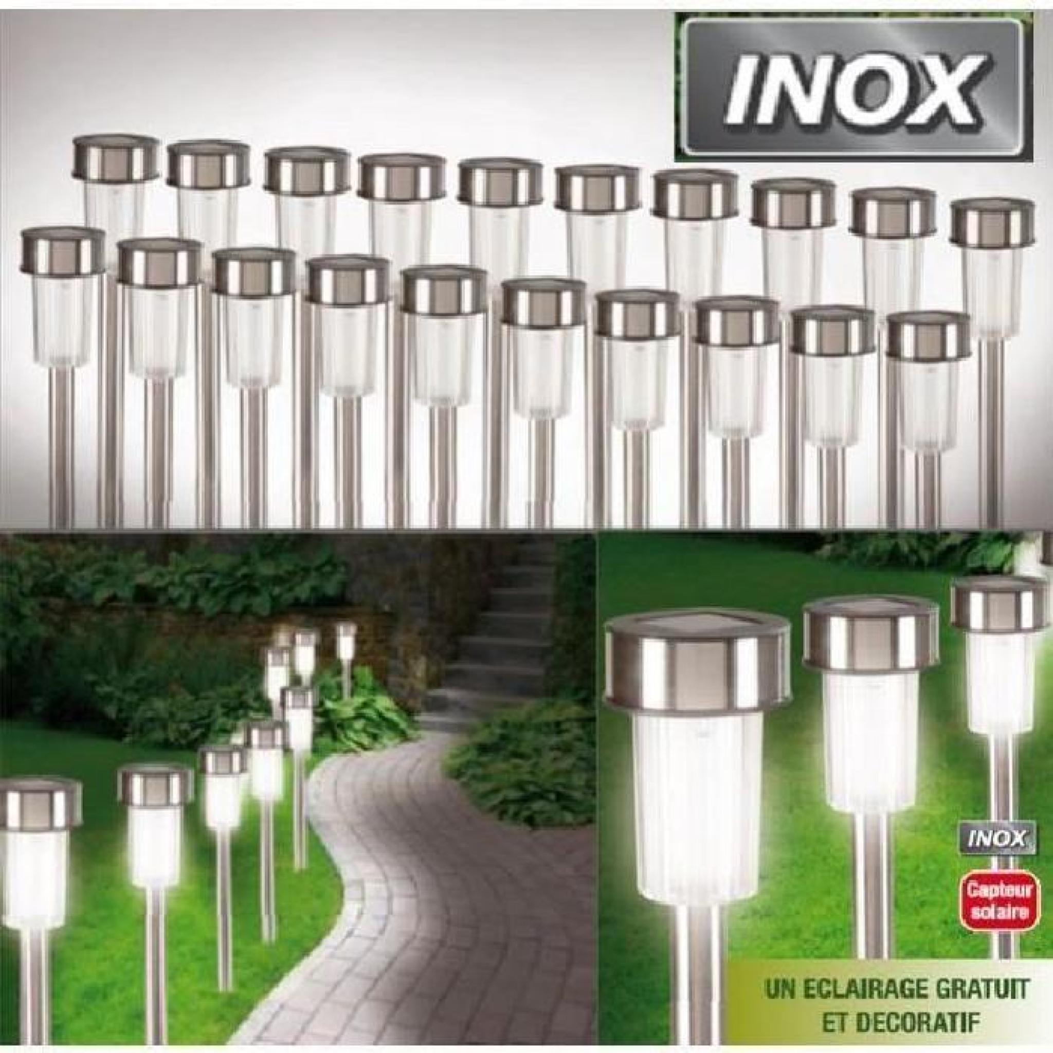 Set de 20 bornes lampes solaires inox à Led bla…