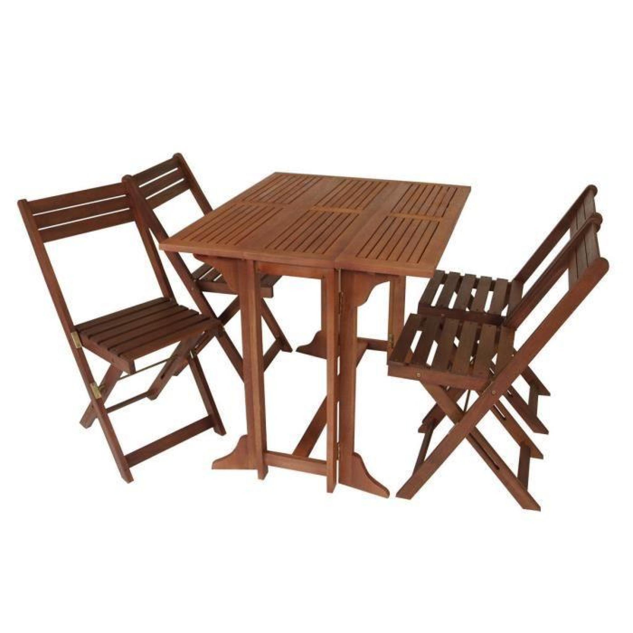 Set de jardin/balcon 4 chaises pliantes 1 table pliante bois d\'eucalyptus  huilé certifié FSC 90x75x74cm 39x51x82cm PEDRO