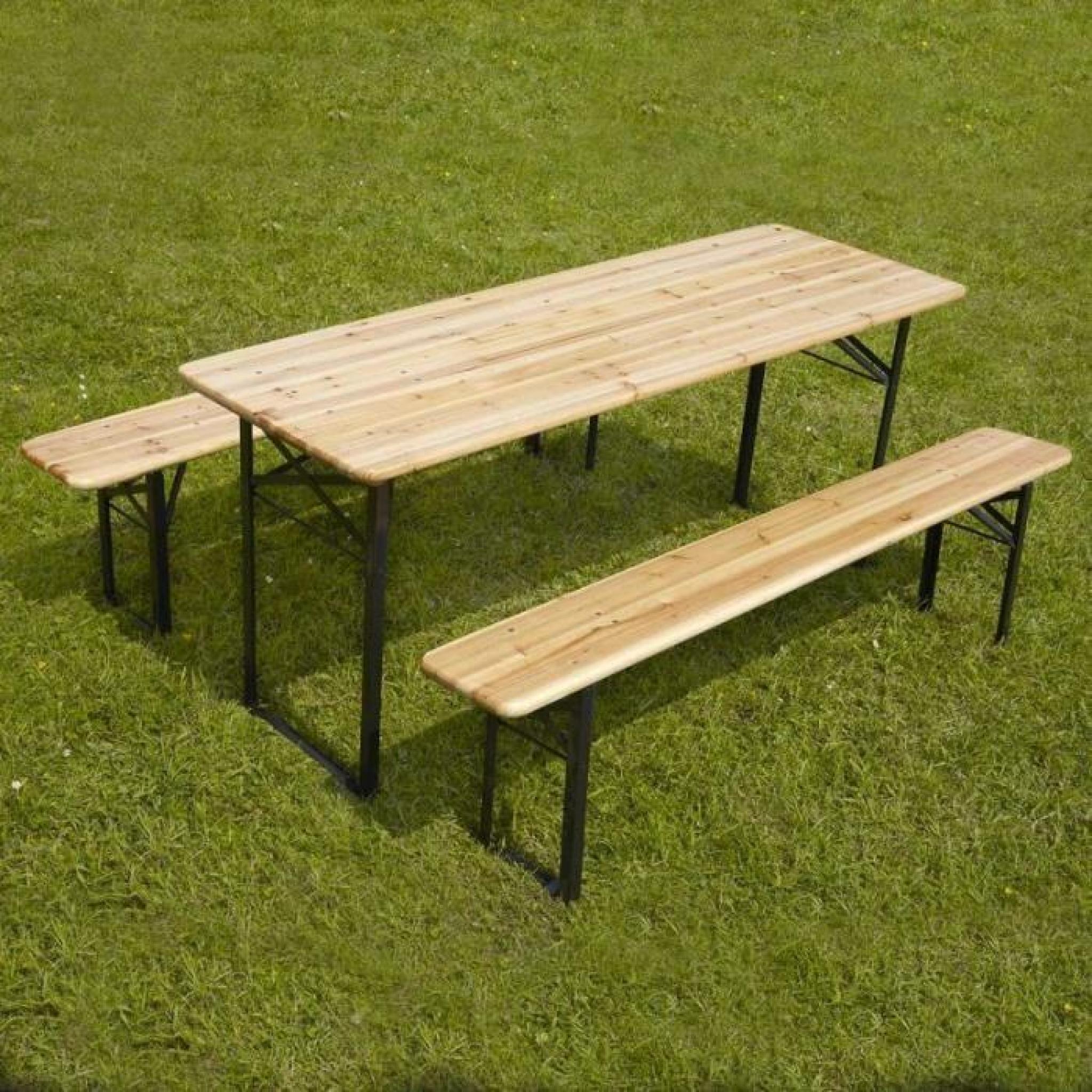 Ensemble table et banc en bois pique nique brasserie 180 cm