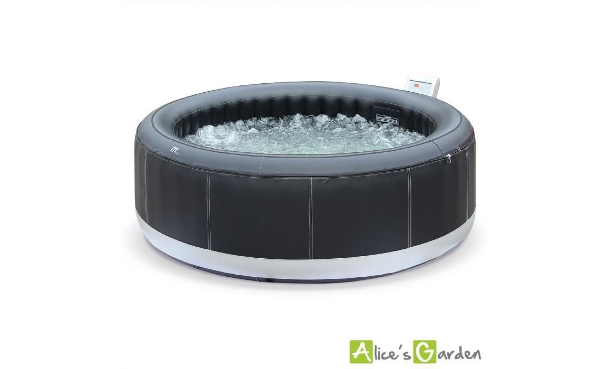 spa gonflable ottawa xxl cuir noir 6 personnes 205cm jacuzzi pu luxe avec pompe int gr e. Black Bedroom Furniture Sets. Home Design Ideas
