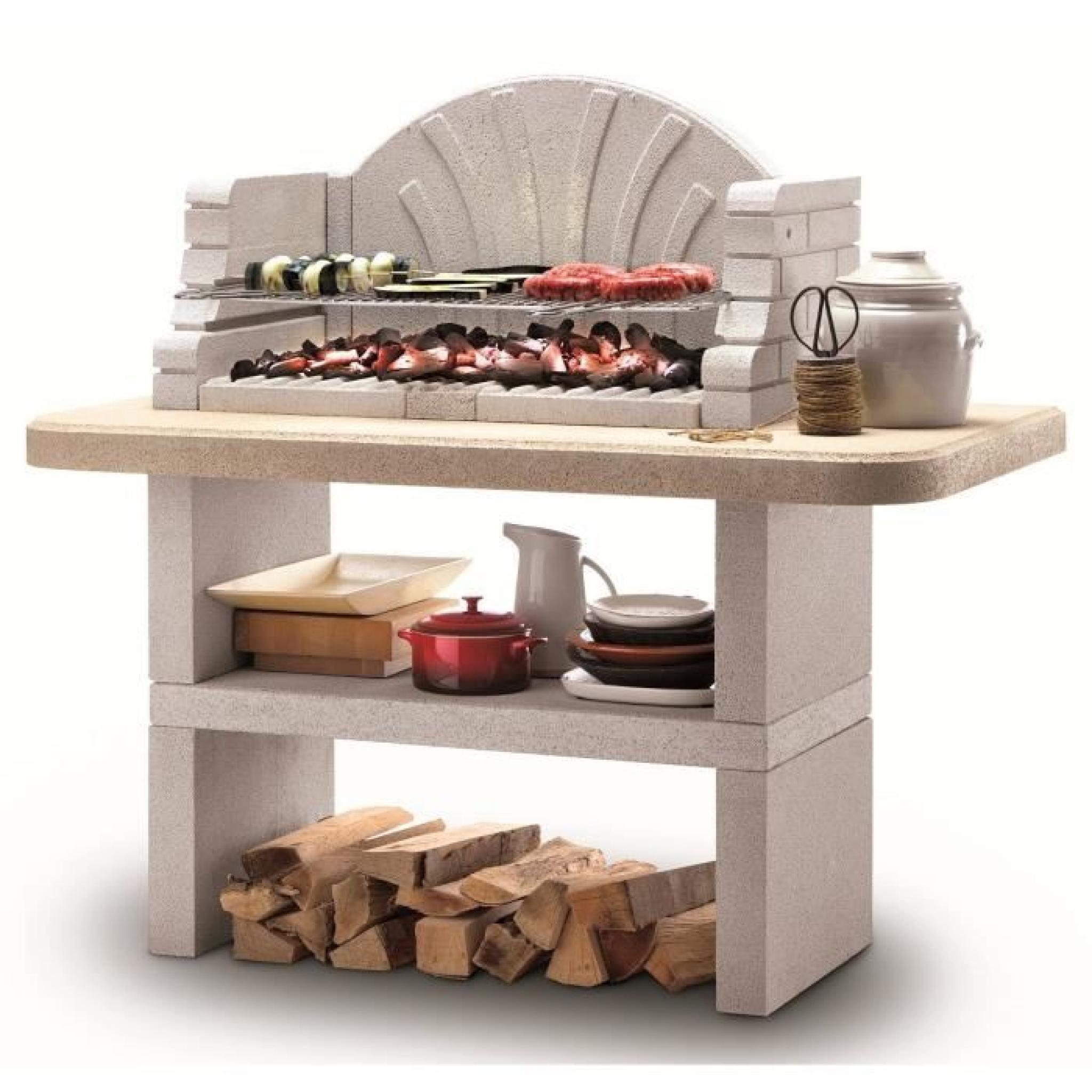 ST TROPEZ Barbecue familial à combustible bois ou charbon de