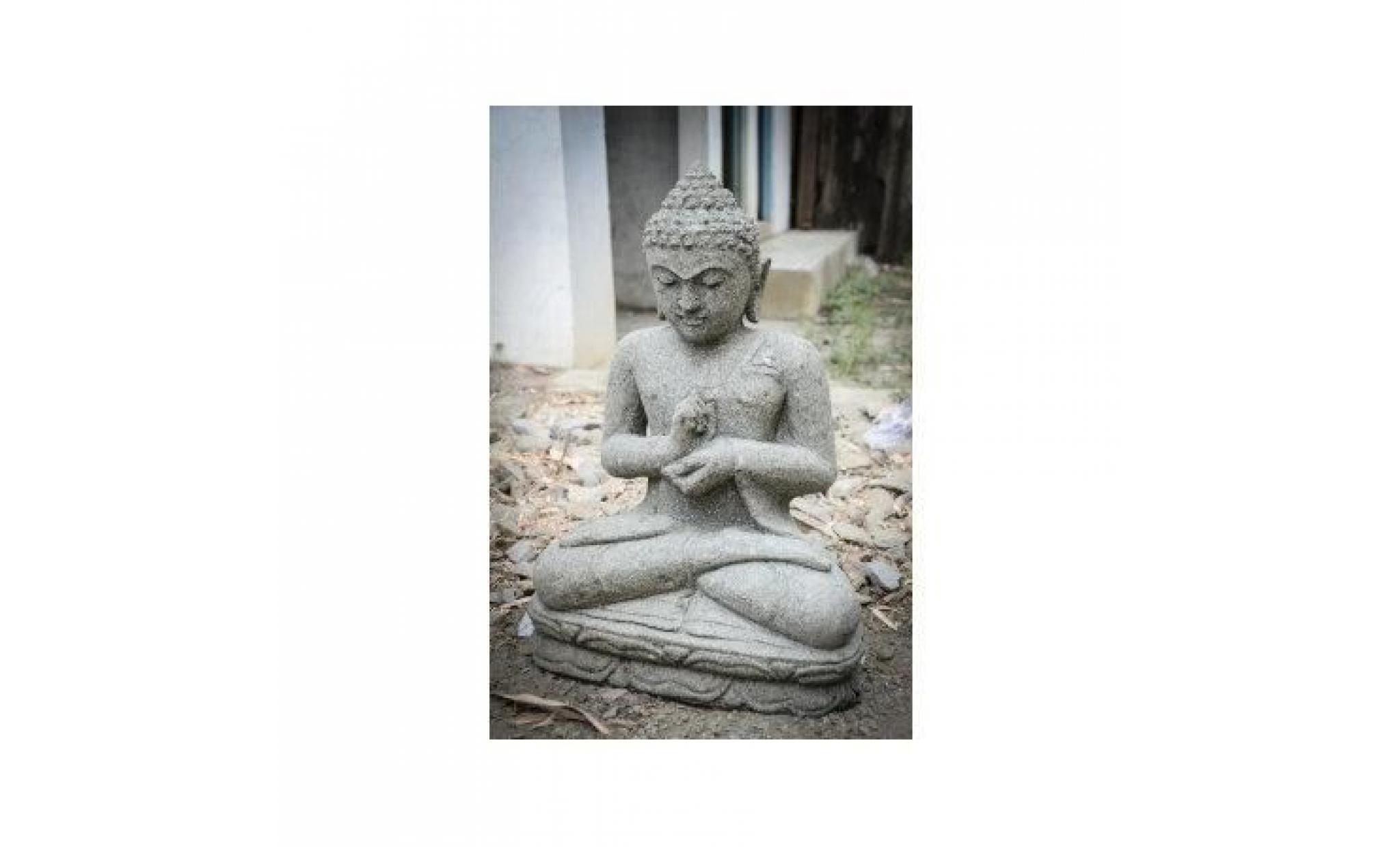 statue de jardin bouddha en pierre volcanique p - achat/vente