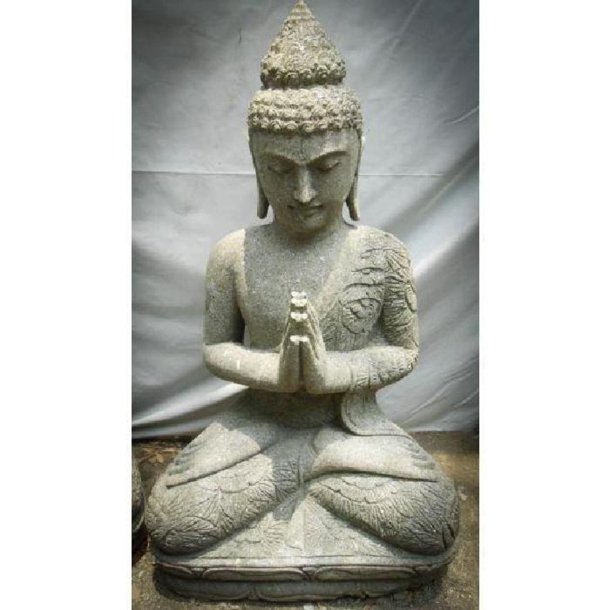 statue en pierre bouddha jardin zen position priere 1 m - achat