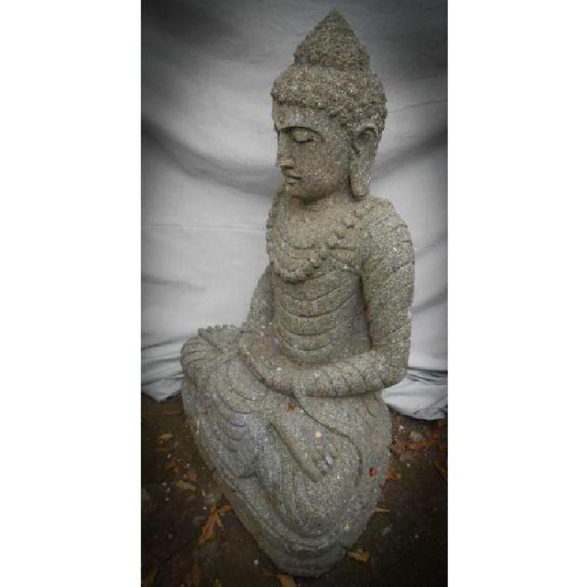 statue jardin zen exterieur bouddha assis pierre volcanique collier 80 cm achat vente