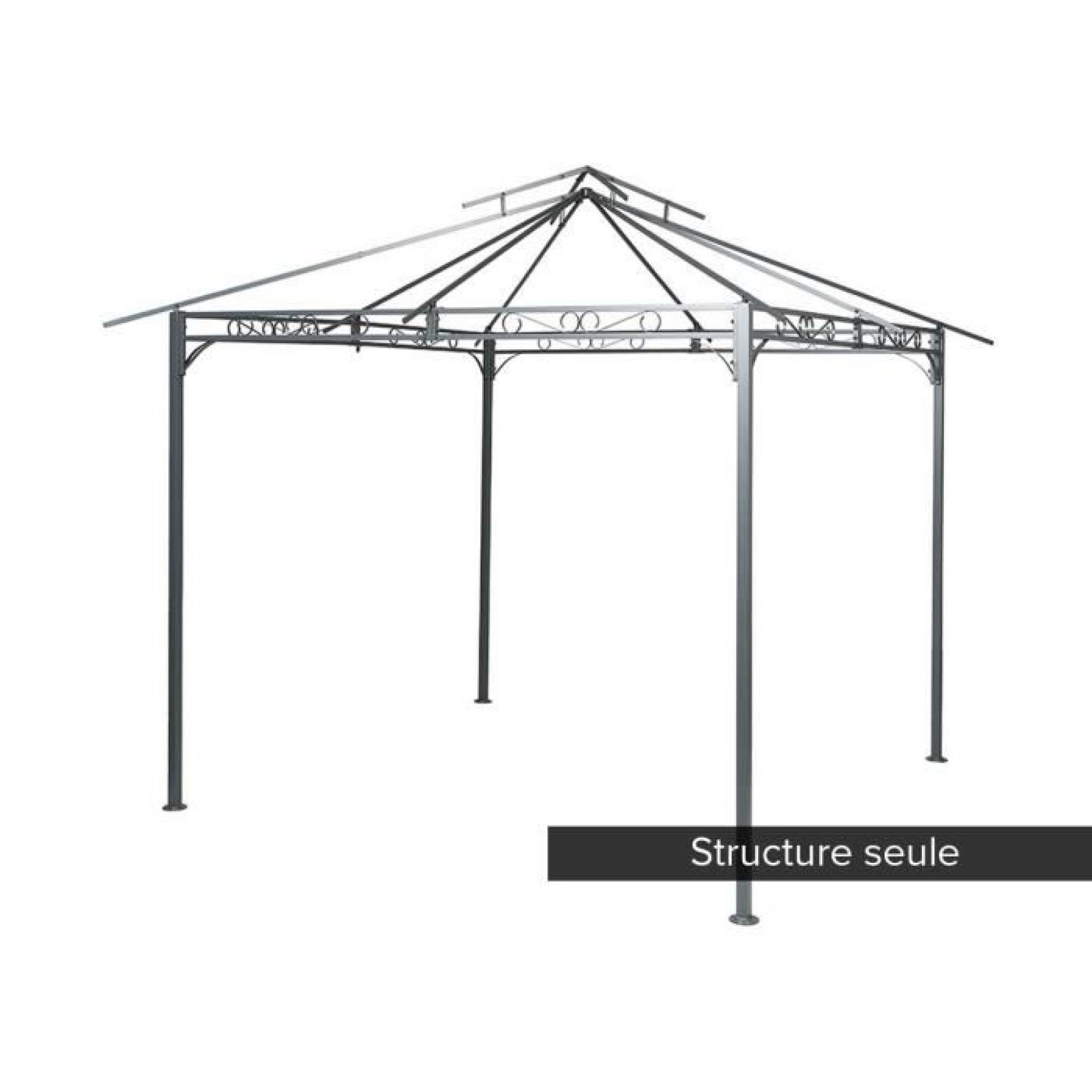structure en acier pour la tonnelle fogo 3 x 3 m achat vente tonnelle en acier pas cher. Black Bedroom Furniture Sets. Home Design Ideas