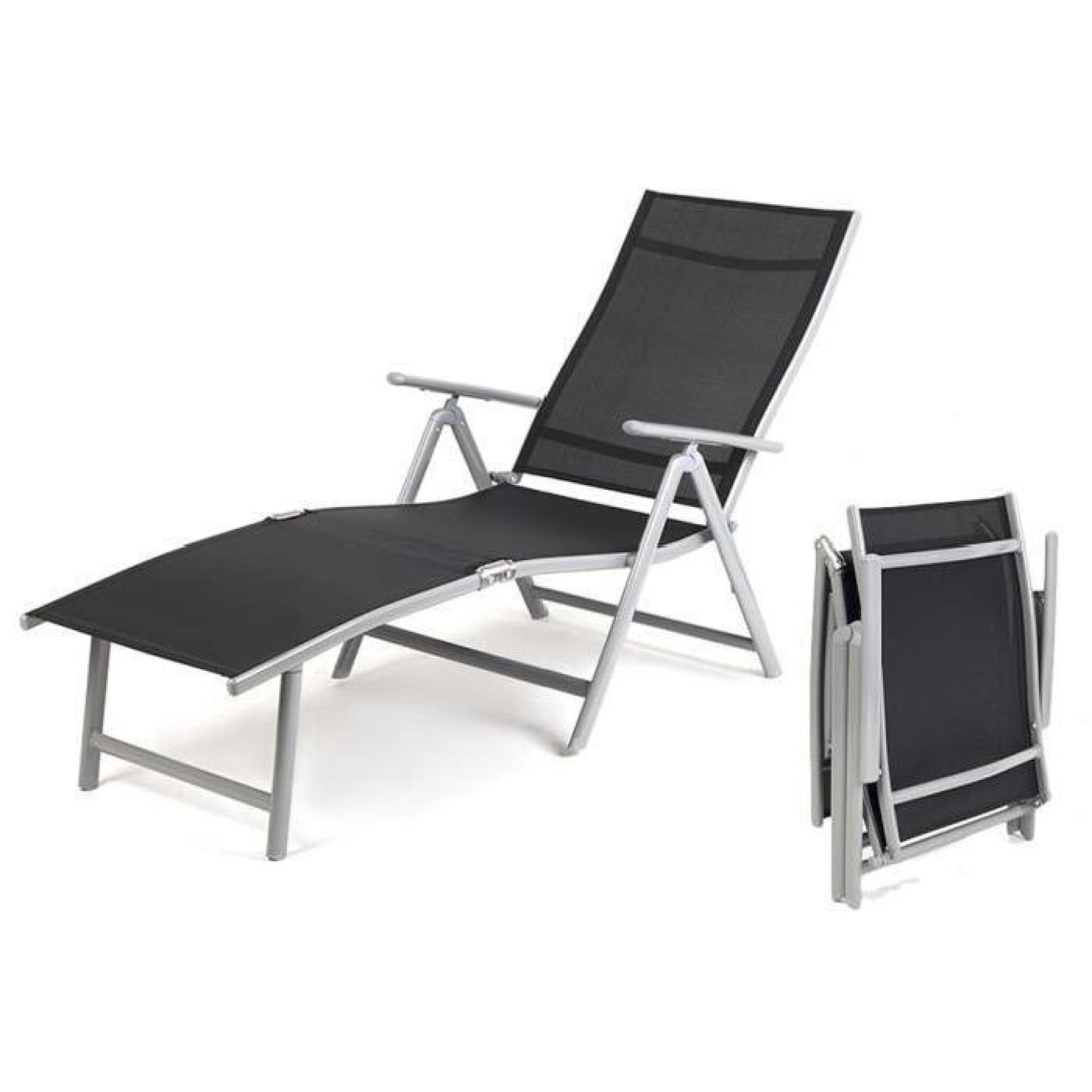 Super transat reglable FLORENCE Noir bain soleil pliable qualité superieure  allu