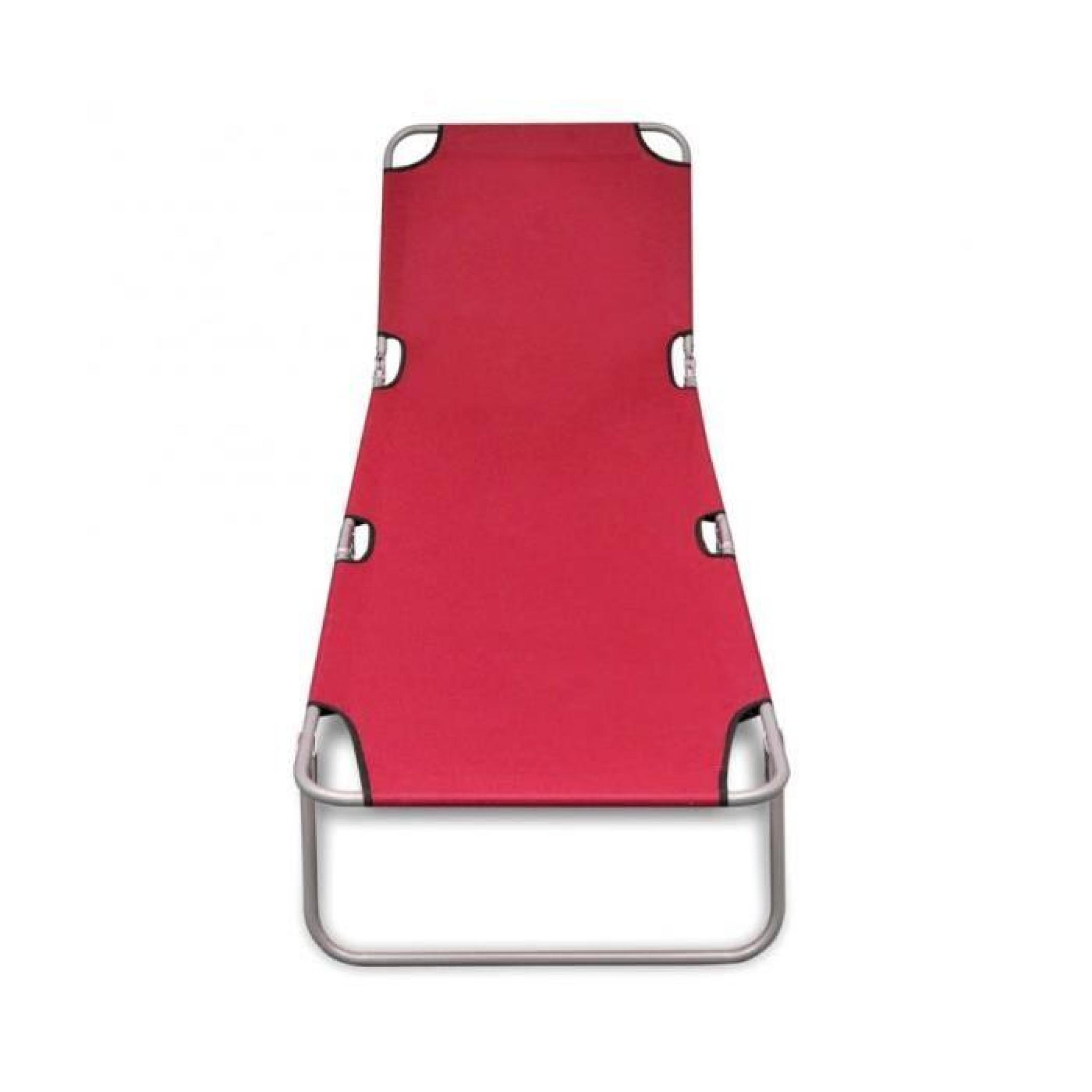 superbe bain de soleil rouge pliable avec dossier. Black Bedroom Furniture Sets. Home Design Ideas