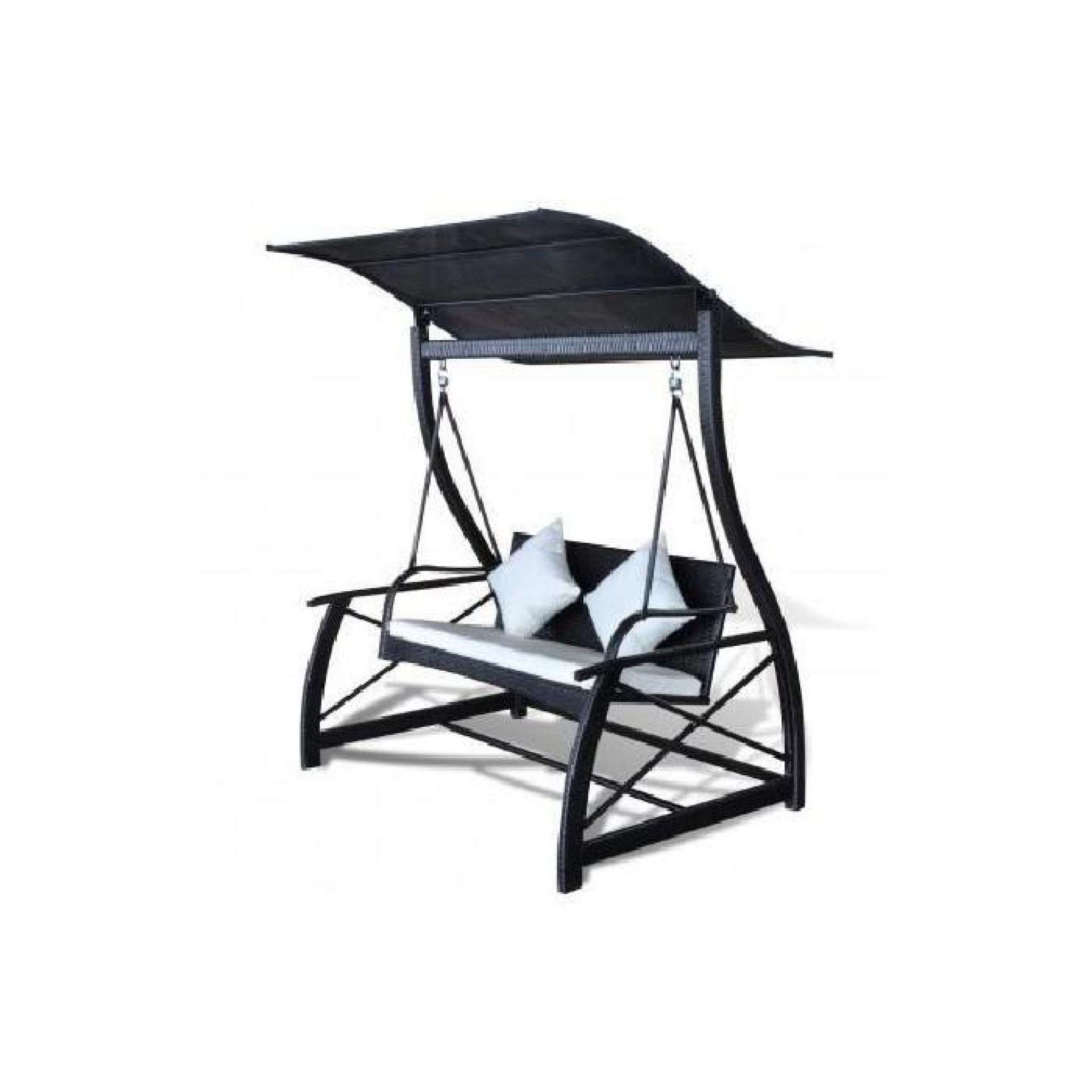 superbe balancelle avec toit en rotin noir pour ext rieur. Black Bedroom Furniture Sets. Home Design Ideas