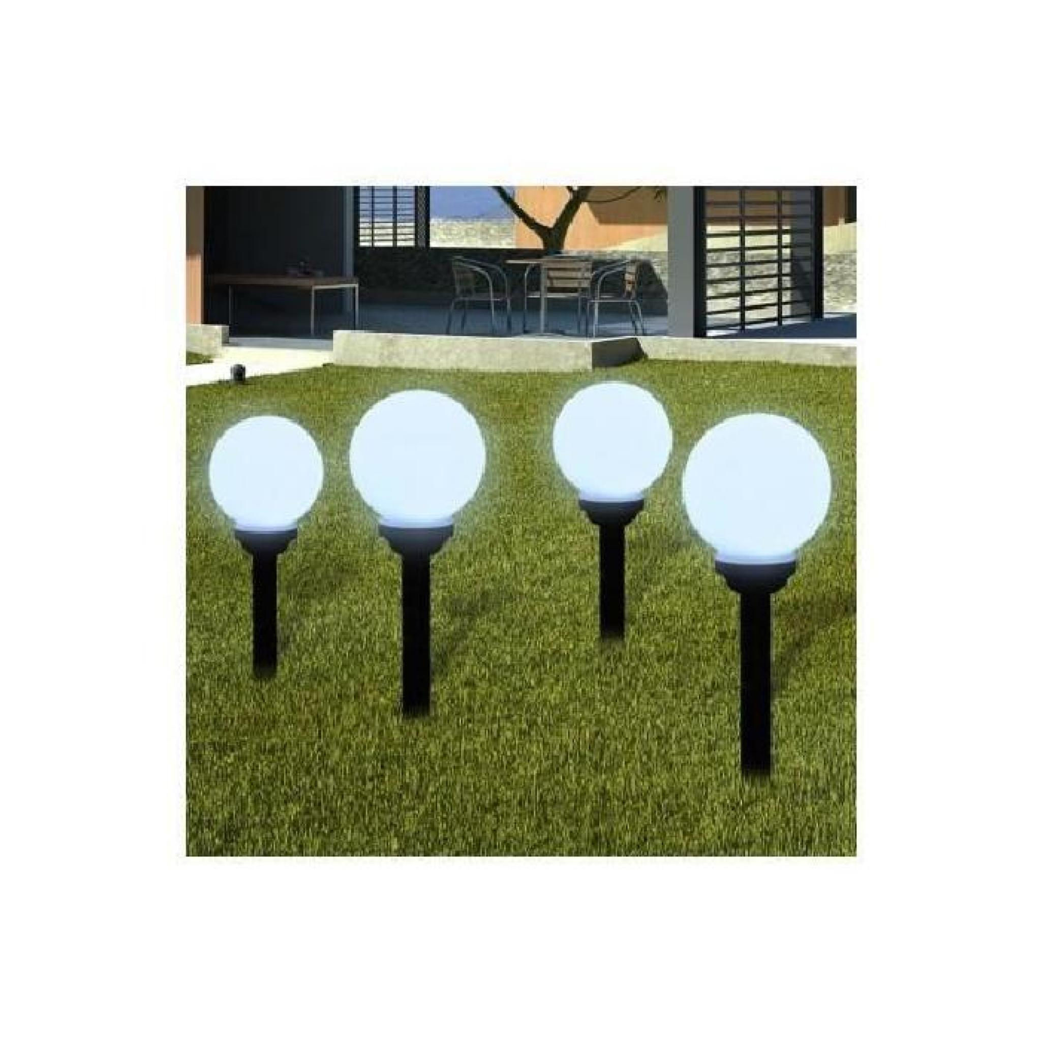 Superbe boule solaire ext rieure 15cm 4 pi ces achat for Boule lumineuse jardin pas cher
