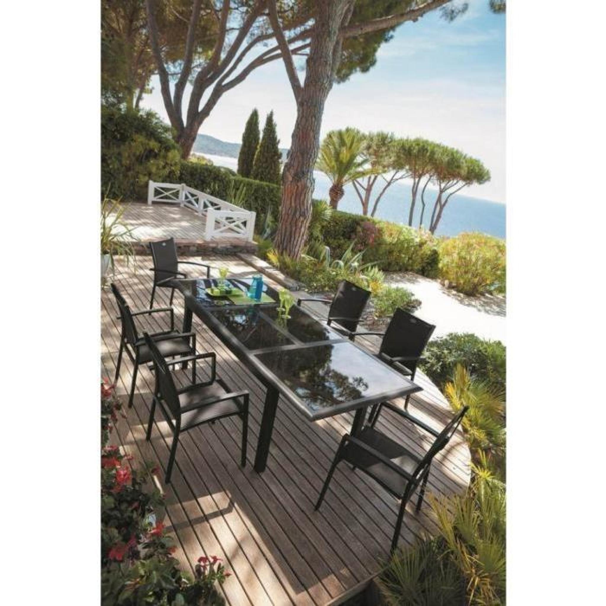 TABLE 160/240CM AZUA EXTERIEUR NOIR - Achat/Vente table de jardin ...