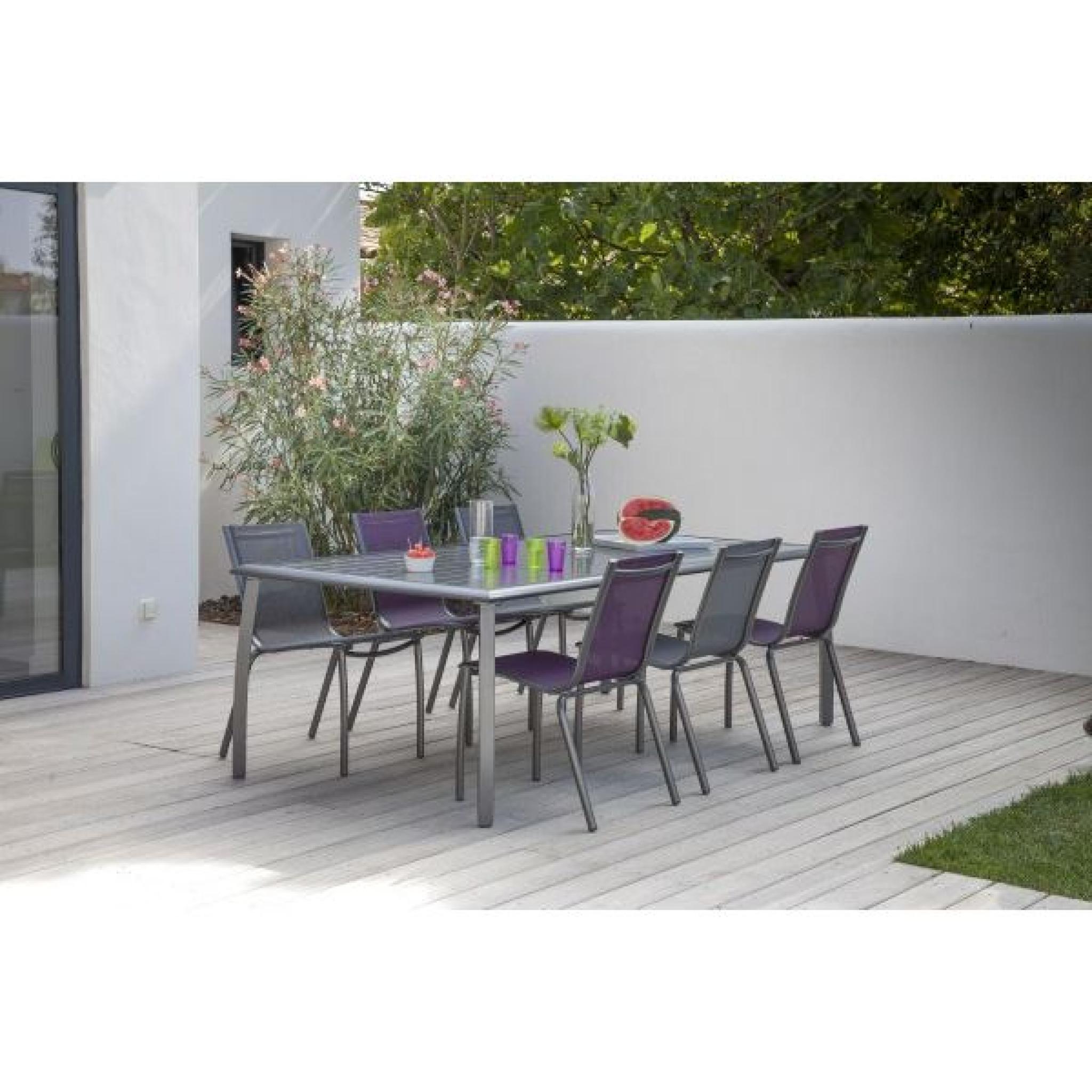 table azuro gris 225x100 achat vente table de jardin en aluminium pas cher. Black Bedroom Furniture Sets. Home Design Ideas
