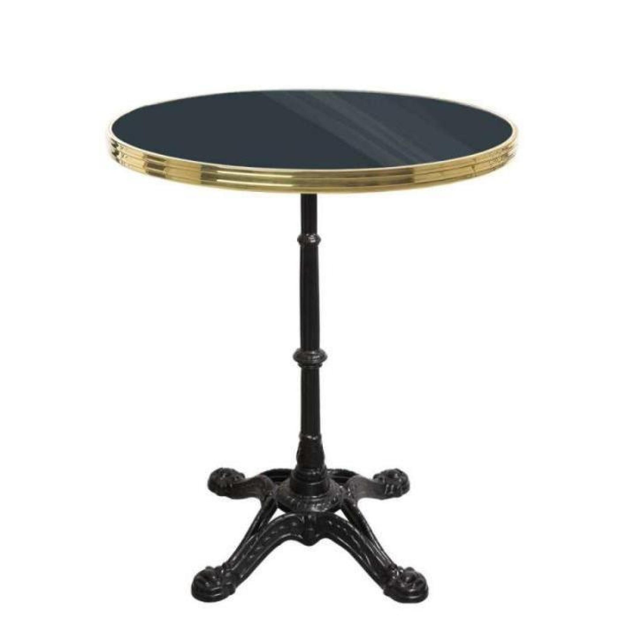 table bistrot ronde noir avec cerclage en laiton pied eiffel 3 branches h70 x d50 cm achat. Black Bedroom Furniture Sets. Home Design Ideas