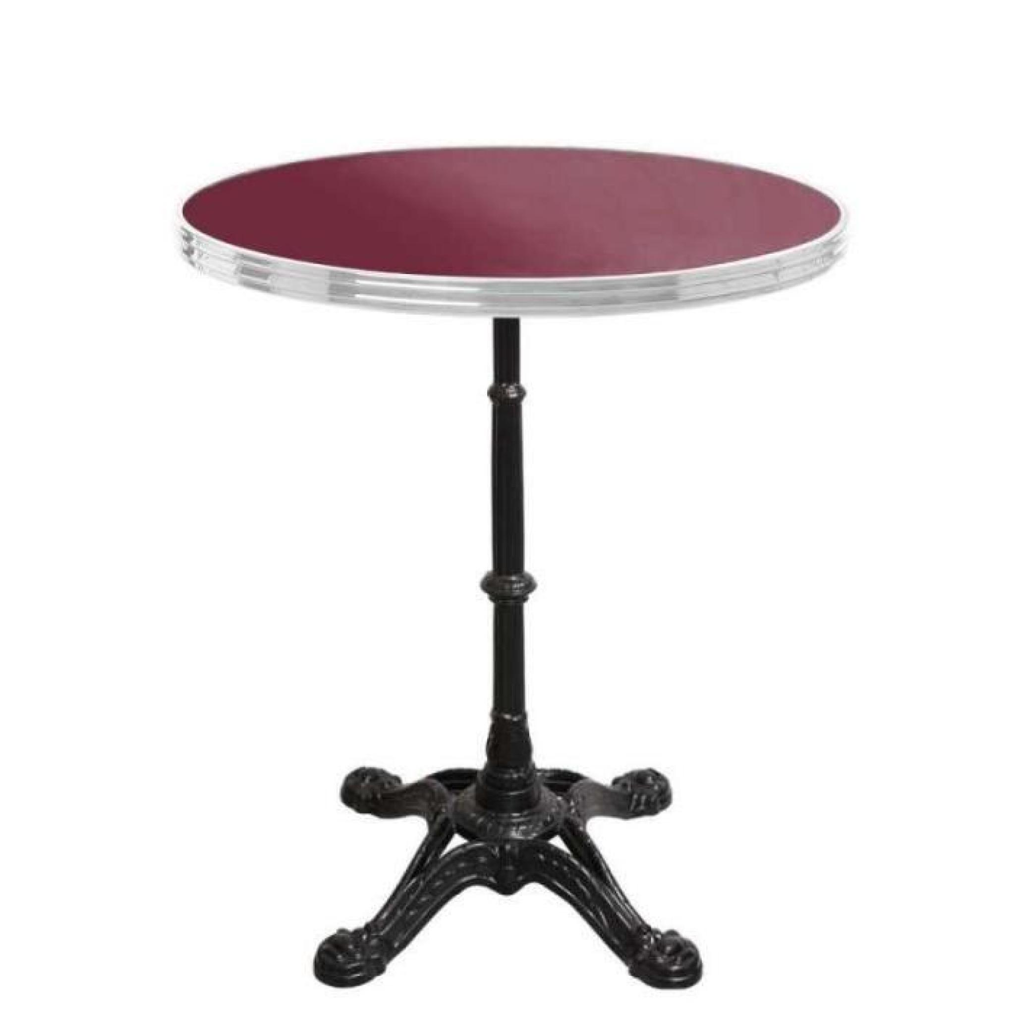 table bistrot ronde rouge avec cerclage en inox - pied 4 branches ...