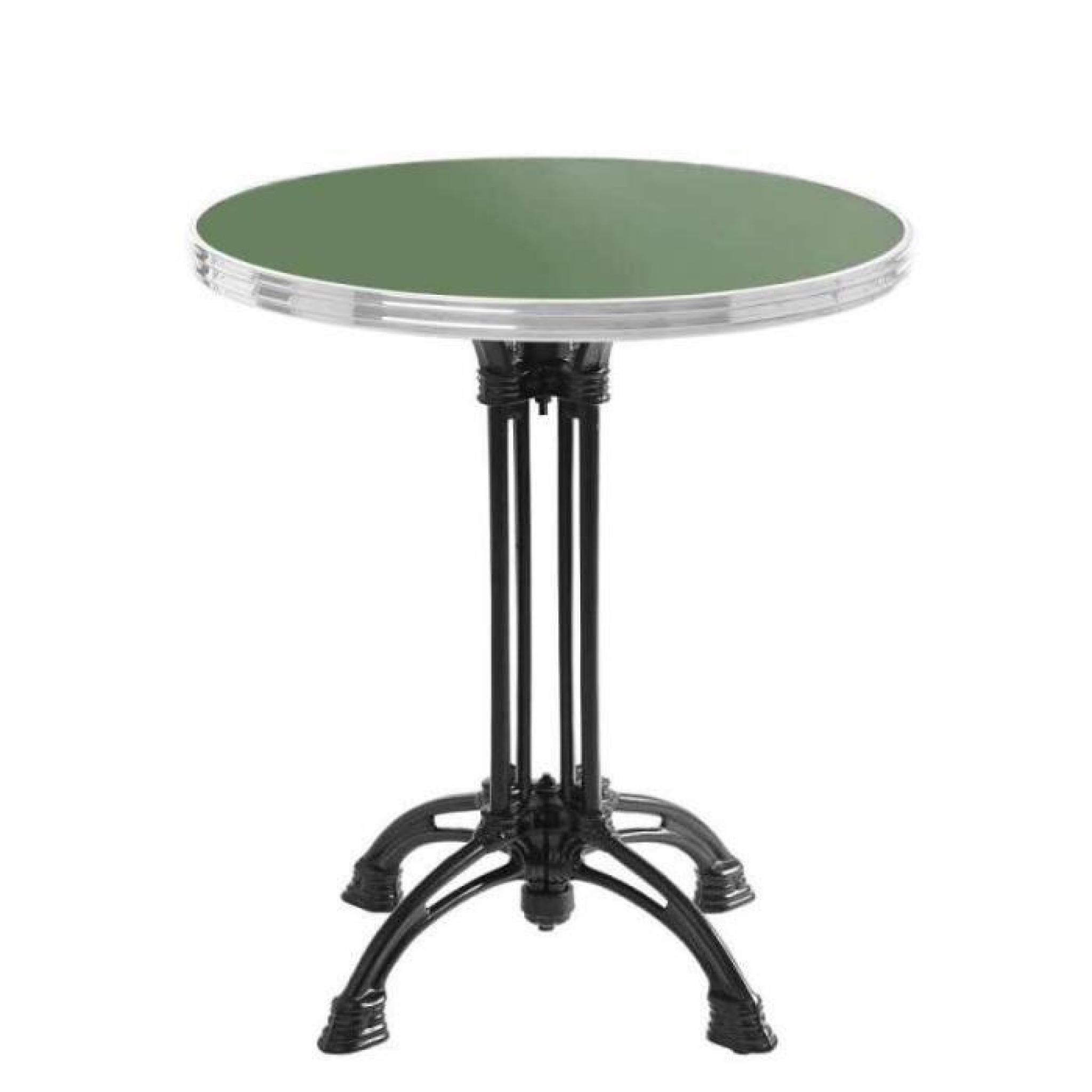 table bistrot ronde vert réséda avec cerclage en inox - h70 x d60 cm