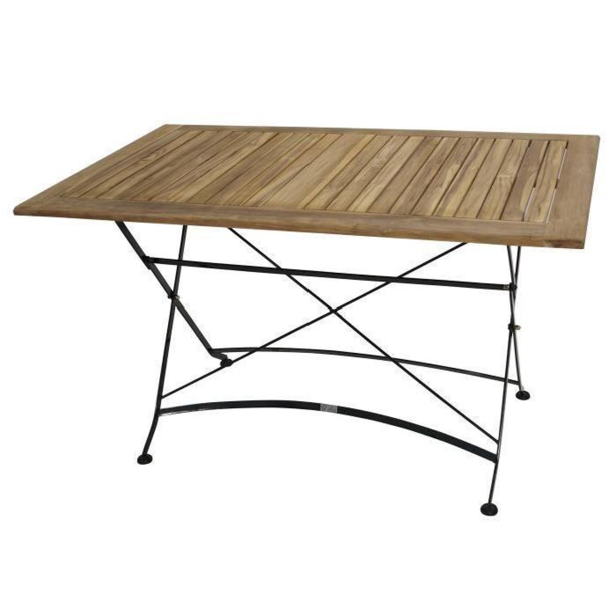 Table carré pliante salon de jardin 75x125cm acier plat noir et bois Teak  JAKARTA