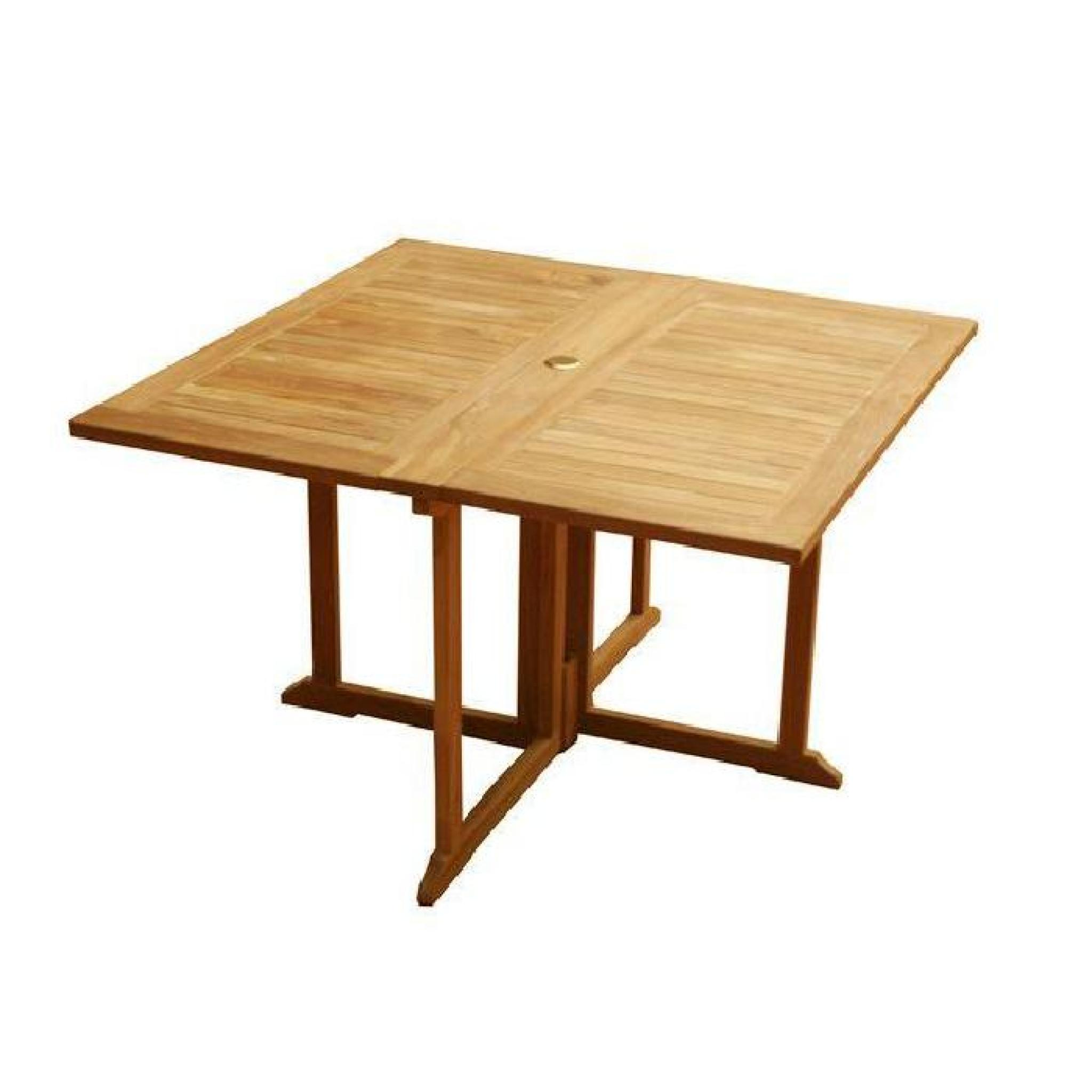 Table pliante carrée en teck Ecograde Goa 120 x 120 cm - Achat/Vente ...